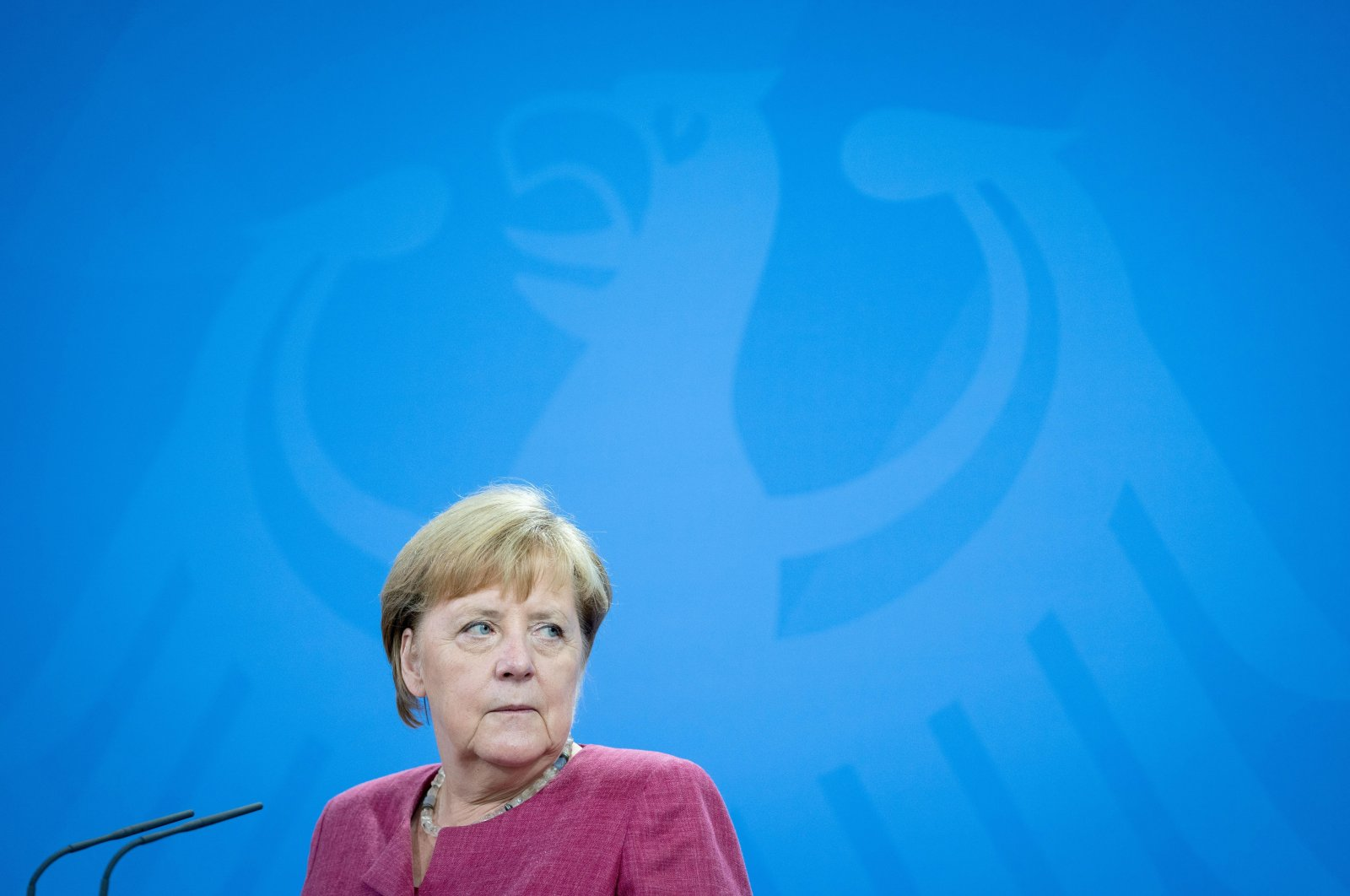 German Chancellor Angela Merkel and Estonia's Prime Minister Kaja Kallas address a news conference at the Chancellery in Berlin, Germany, Aug. 17, 2021. (Reuters Photo)
