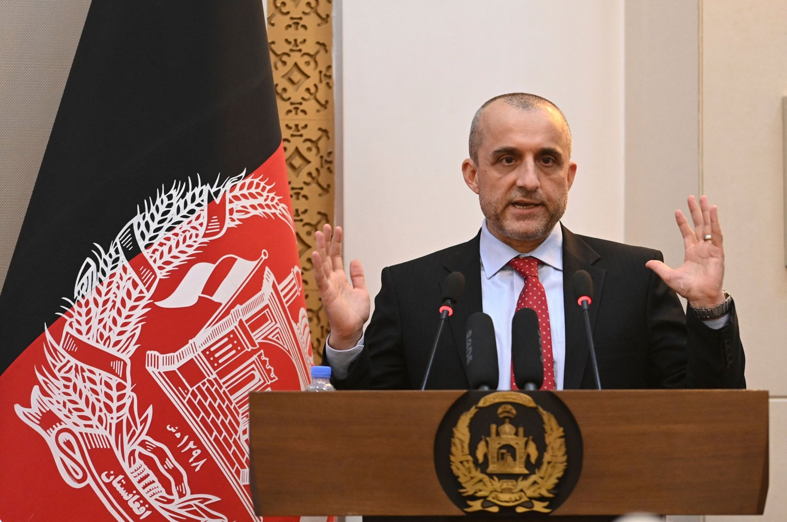 First Vice President of Afghanistan Amrullah Saleh speaks during a function at the Afghan presidential palace in Kabul on August 4, 2021. (AFP File Photo)