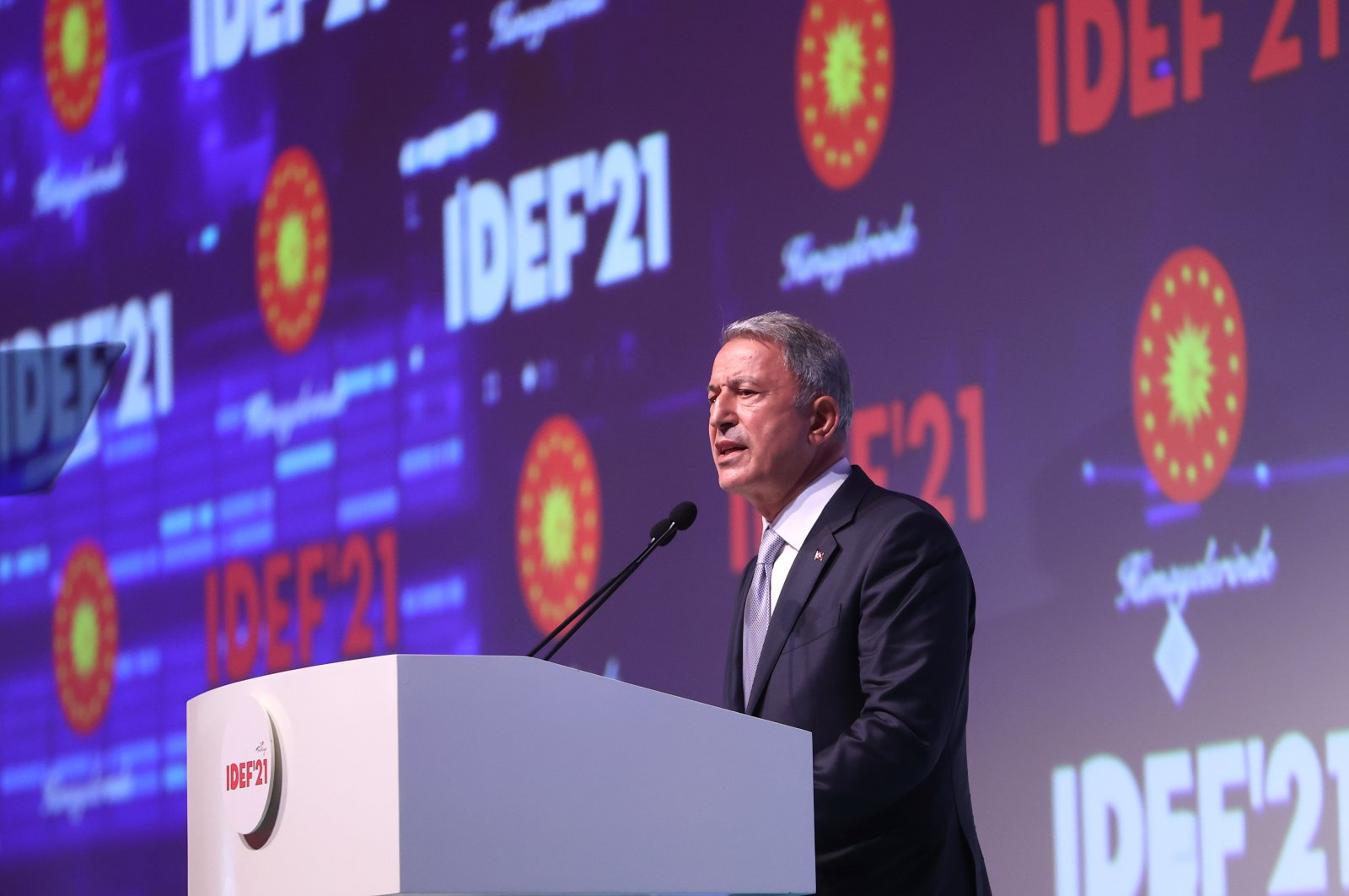 Defense Minister Hulusi Akar speaks during the opening of the International Defense Industry Fair (IDEF), Istanbul, Turkey, Aug. 17, 2021. (AA Photo)
