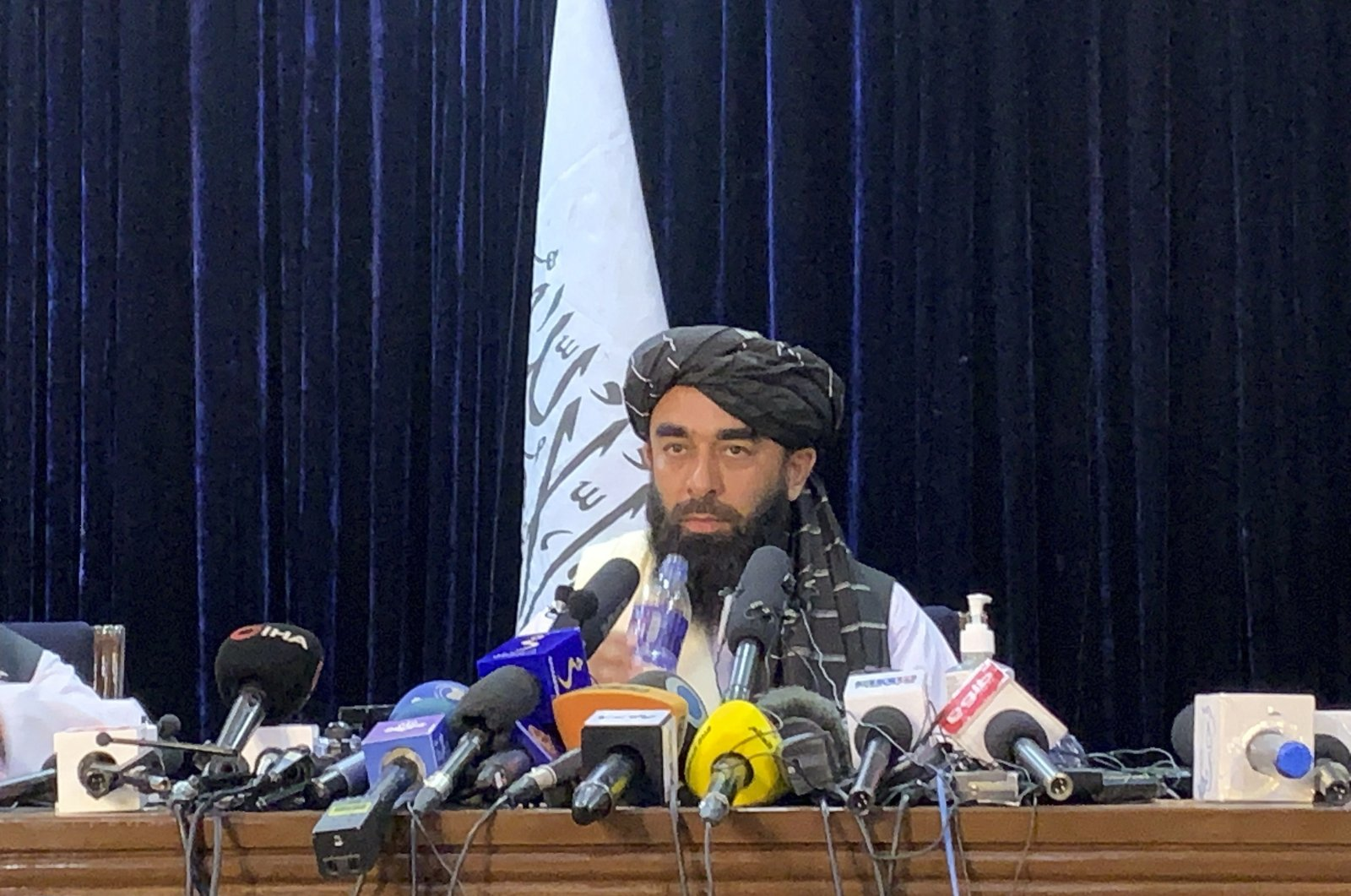 Taliban spokesperson Zabihullah Mujahid speaks at his first news conference in Kabul, Afghanistan, Tuesday, Aug. 17, 2021. (AP Photo)