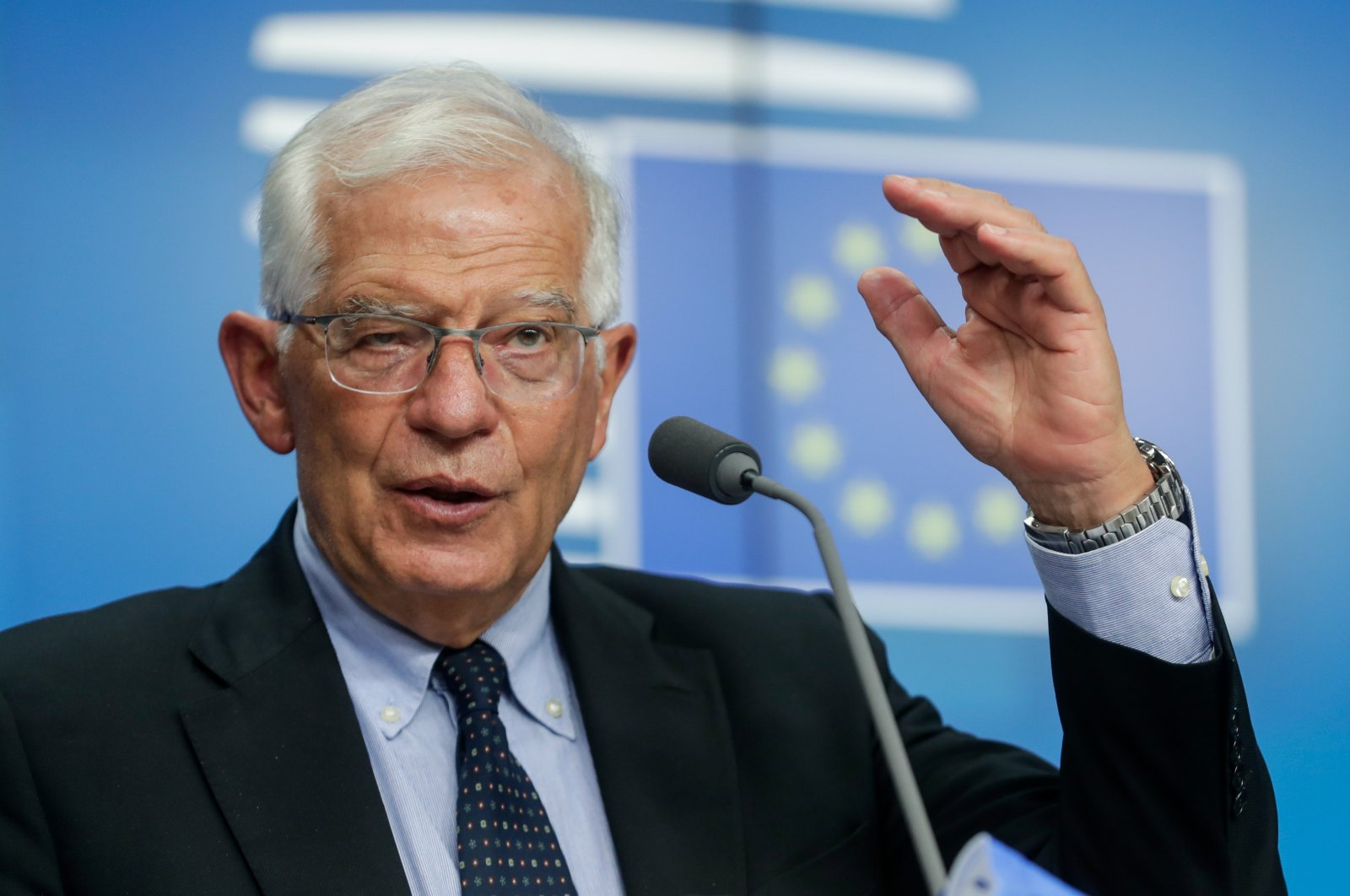 European Union foreign policy chief Josep Borrell gives a press conference at the end of a meeting of EU foreign ministers, at the European Council in Brussels, Belgium, July 12, 2021. (EPA File Photo)