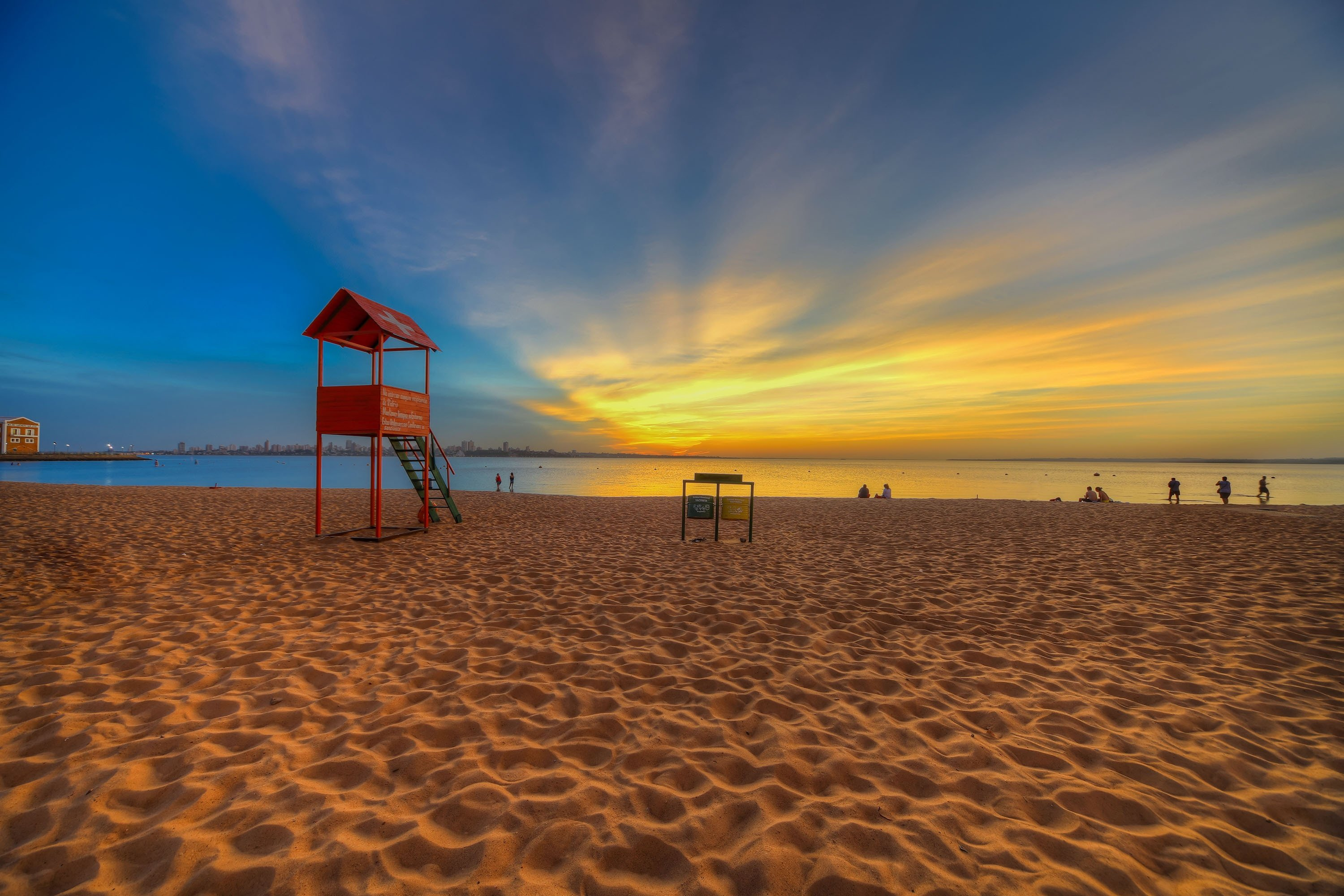 The San Jose beach in Encarnacion in Paraguay on the Parana River at the blue hour in Encarnacion, Paraguay, Nov. 10, 2018. (Shutterstock Photo)
