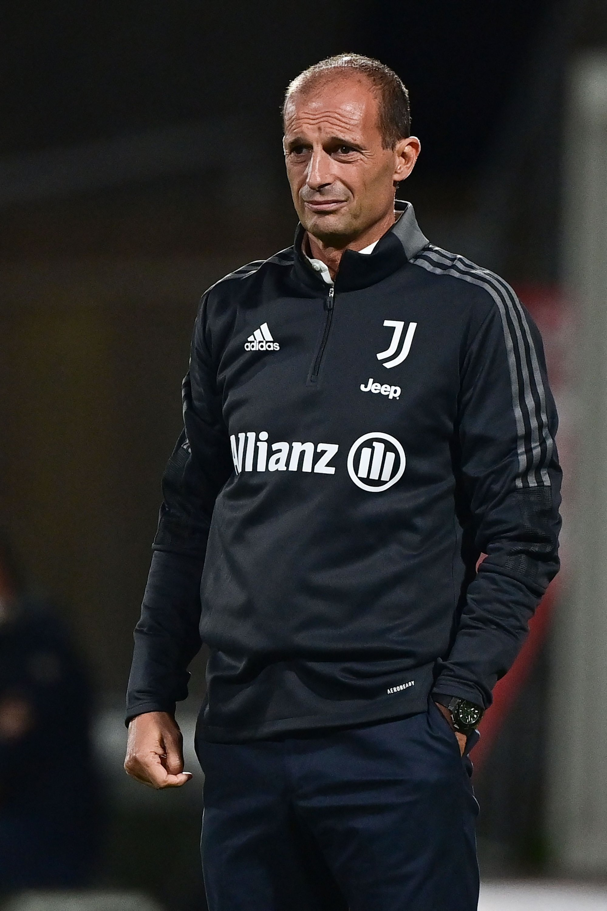 Juventus' Italian coach Massimiliano Allegri reacts during a friendly match against AC Monza at the U-Power Stadium in Monza, Italy, July 31, 2021. (AFP Photo)
