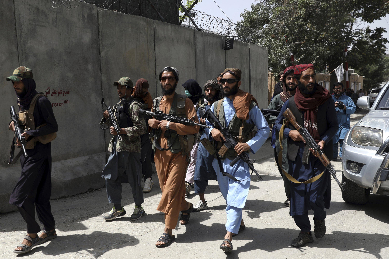 Taliban fighters patrol the Wazir Akbar Khan neighborhood in the city of Kabul, Afghanistan, Aug. 18, 2021. (AP Photo)
