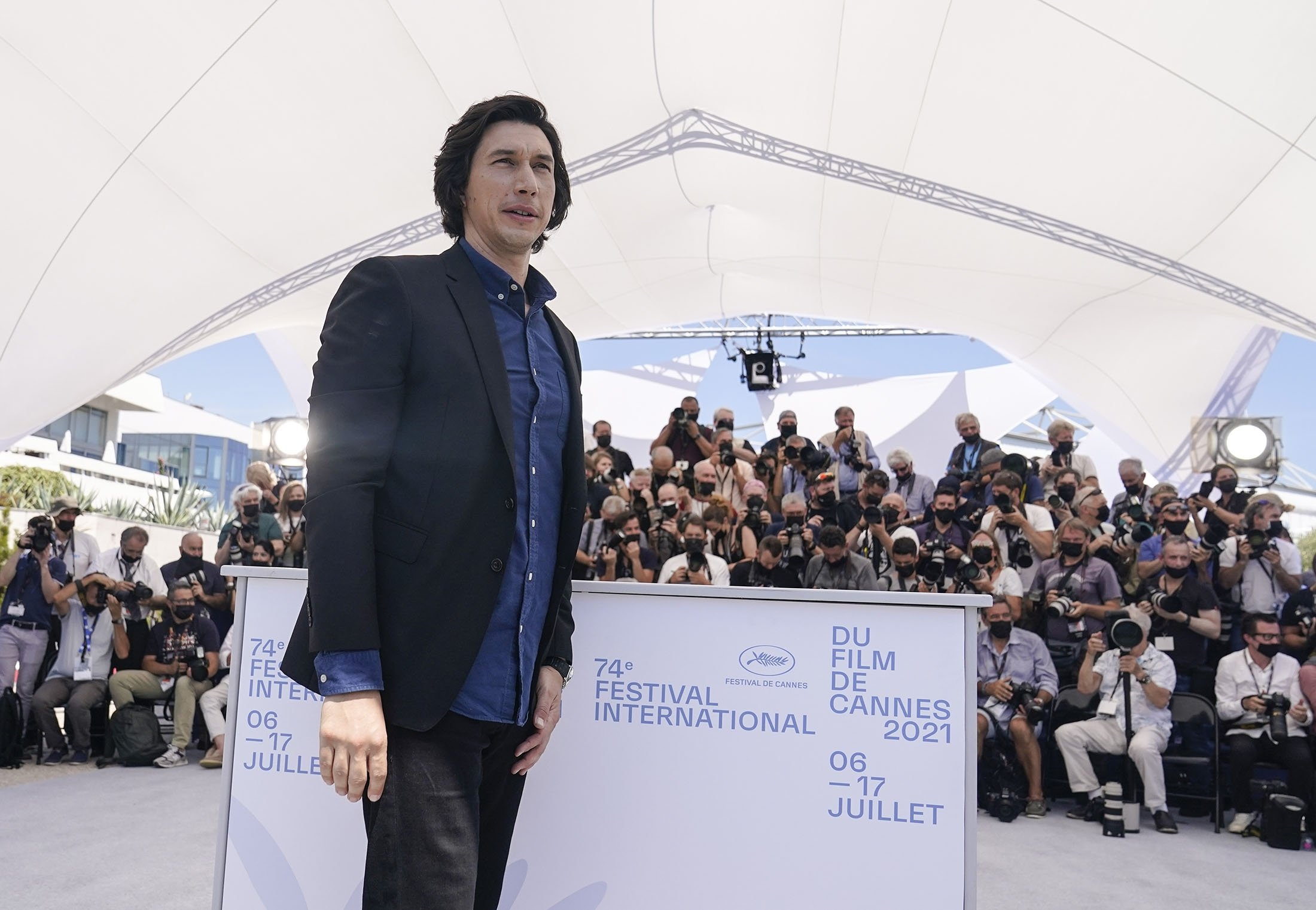 Adam Driver poses for photographers at the photocall for the film 'Annette' at the 74th international film festival, Cannes, southern France, July 6, 2021. (AP Photo)