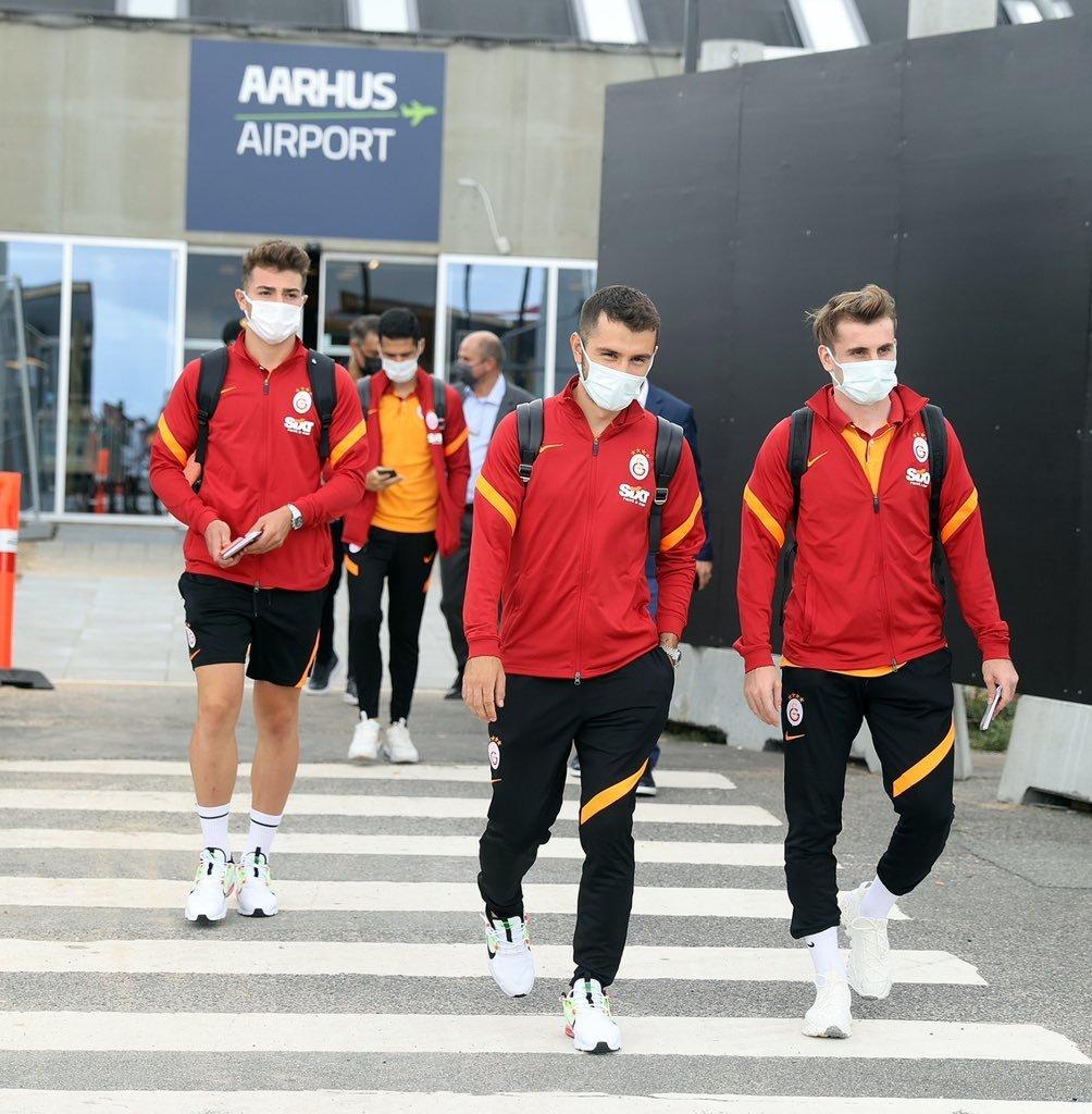 Galatasaray players arrive in Denmark for their UEFA Europa League playoff first-leg match against Randers, Aarhus, Denmark, Aug. 18. 2021.