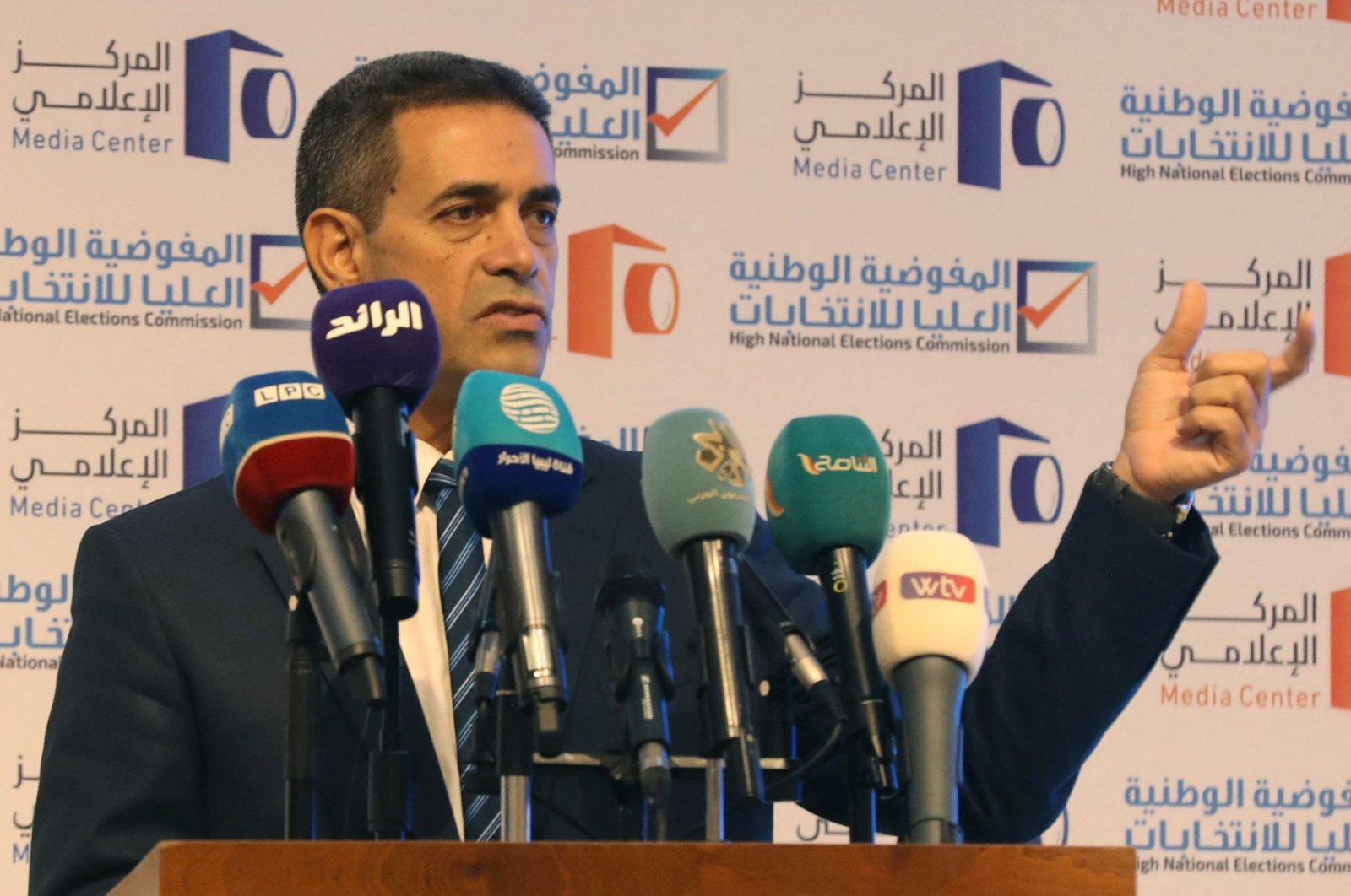 Imad al-Sayeh, the head of Libya's national elections commission, speaks during a press conference in the capital Tripoli, Libya, Aug. 17, 2021. (AFP Photo)