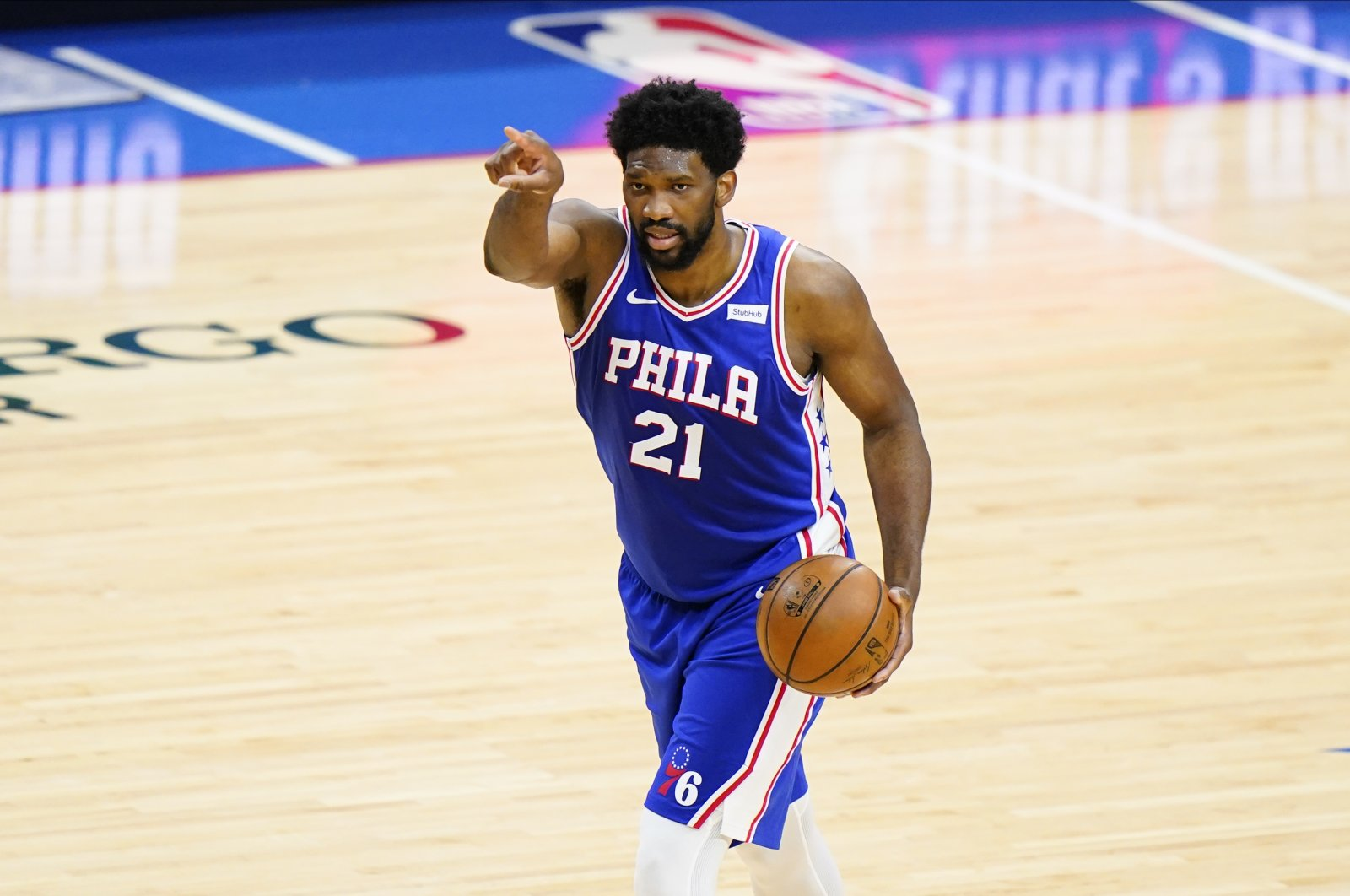 Philadelphia 76ers' Joel Embiid plays during Game 2 in a second-round NBA basketball playoff series against the Atlanta Hawks, Philadelphia, U.S., June 8, 2021. (AP Photo)
