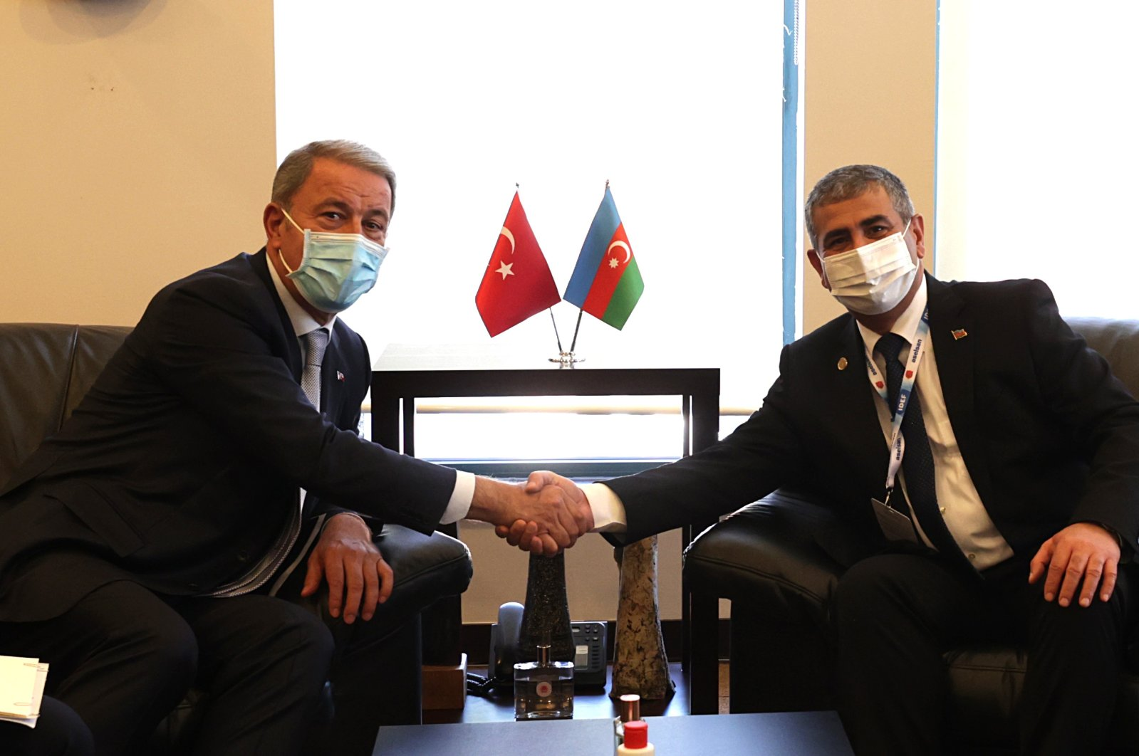 Turkey's Defense Minister Hulusi Akar meets with his Azerbaijani counterpart Zakir Hasanov in Istanbul, on the sidelines of the 15th International Defense Industry Fair, Turkey, Aug. 17, 2021. (AA Photo)