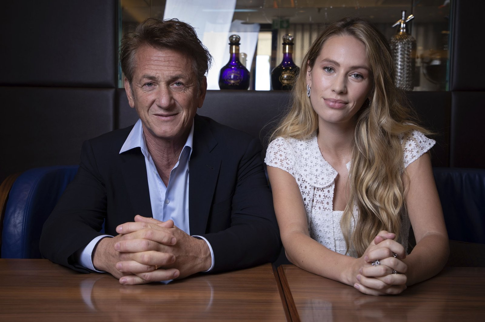 """Sean Penn (L), and Dylan Penn pose for portrait photographs for the film """"Flag Day,"""" at the 74th international film festival, Cannes, southern France, July 10, 2021. (AP Photo)"""