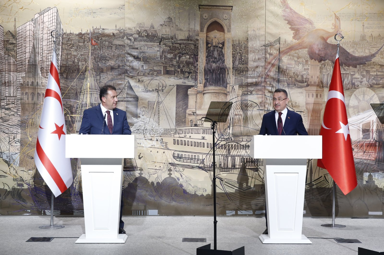 Turkey's Vice President Fuat Oktay (R) holds a news conference with TRNC Prime Minister Ersan Saner in Istanbul, Turkey, Aug. 18, 2021. (AA Photo)