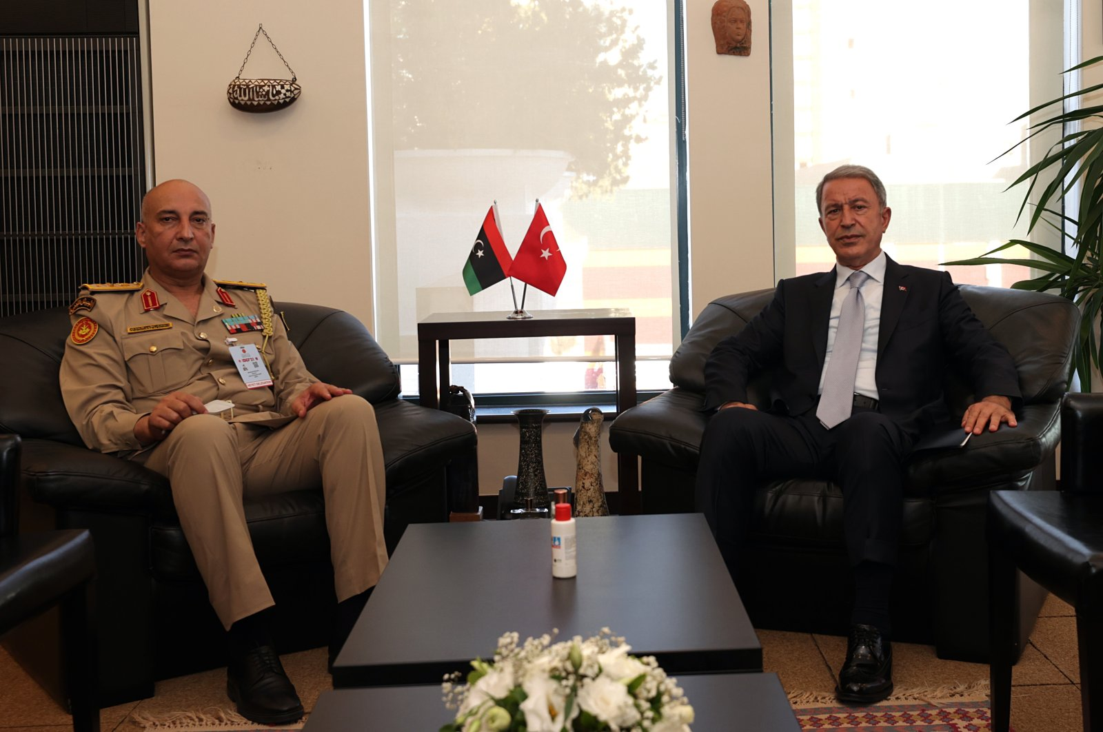 Defense Minister Hulusi Akar together with Libyan Chief of General StaffMuhammed Ali Haddad in Istanbul, Turkey, Aug. 17, 2021 (AA Photo)