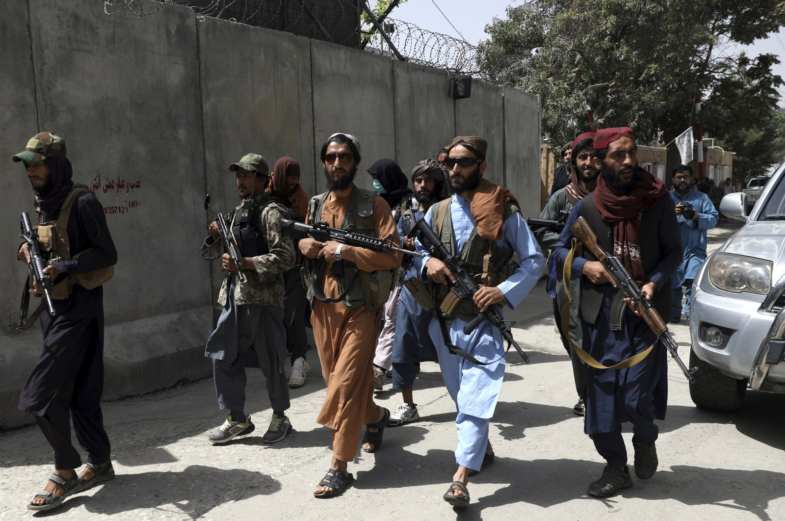 Taliban fighters patrol in Wazir Akbar Khan neighborhood in the city of Kabul, Afghanistan, Wednesday, Aug. 18, 2021. (Rahmat Gul via AP Photo)