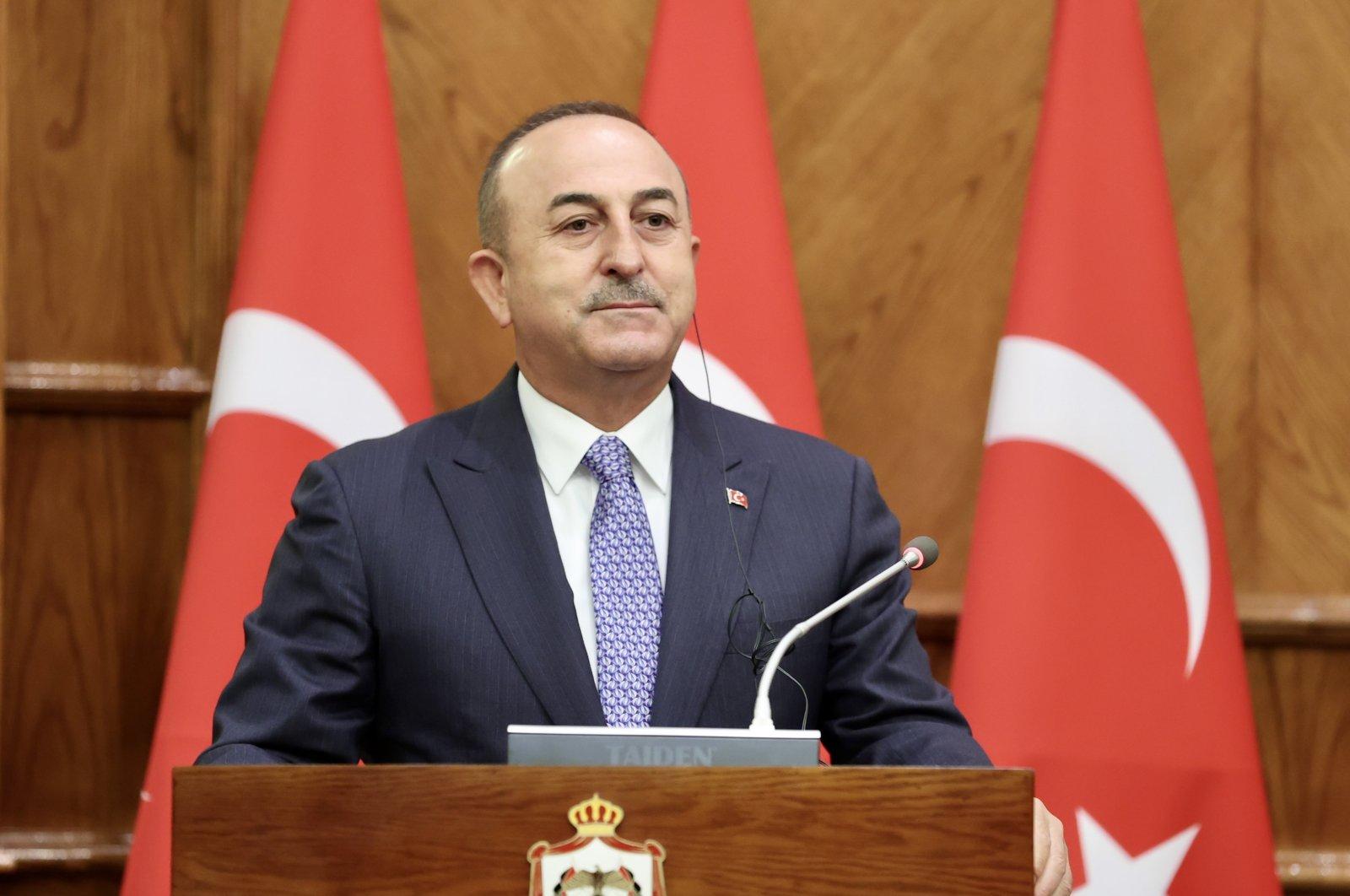 Foreign Minister Mevlüt Çavuşoğlu speaks at a joint news conference with Jordanian counterpart Ayman al-Safadi, Aug. 17, 2021. (AA Photo)