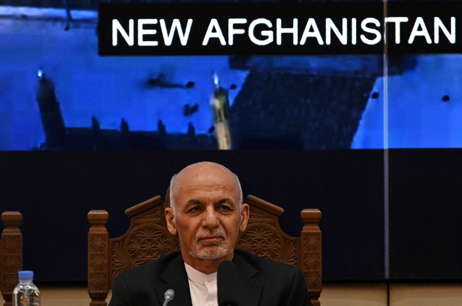 Afghanistan's President Ashraf Ghani looks on while attending a Joint Coordination and Monitoring Board meeting (JCMB) at the Afghan presidential palace in Kabul, July 28, 2021. (Photo by SAJJAD HUSSAIN / AFP)
