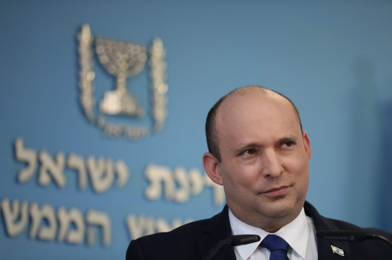 Israeli Prime Minister Naftali Bennett briefs the media about the COVID-19 pandemic health situation in the country, Jerusalem, Israel, Aug. 18, 2021. (AFP Photo)