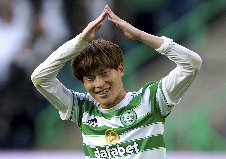 Celtic's Kyogo Furuhashi celebrates scoring his side's first during the Europa League playoff, first leg match against AZ Alkmaar at Celtic Park, Glasgow, Scotland, Aug. 18, 2021. (AP Photo)