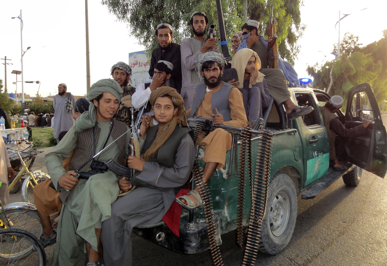 Taliban fighters patrol inside the city of Kandahar, Afghanistan, Aug. 15, 2021. (AP Photo)