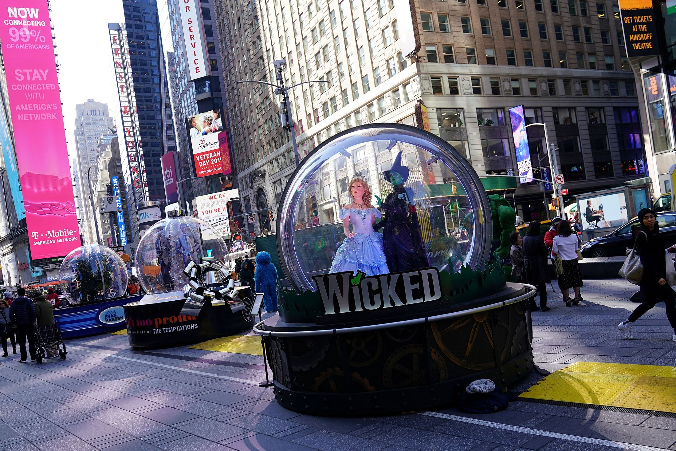 A display for the Broadway show 'Wicked' is pictured on Times Square in the Manhattan borough of New York, New York, U.S., Nov. 6, 2019. (Reuters Photo)