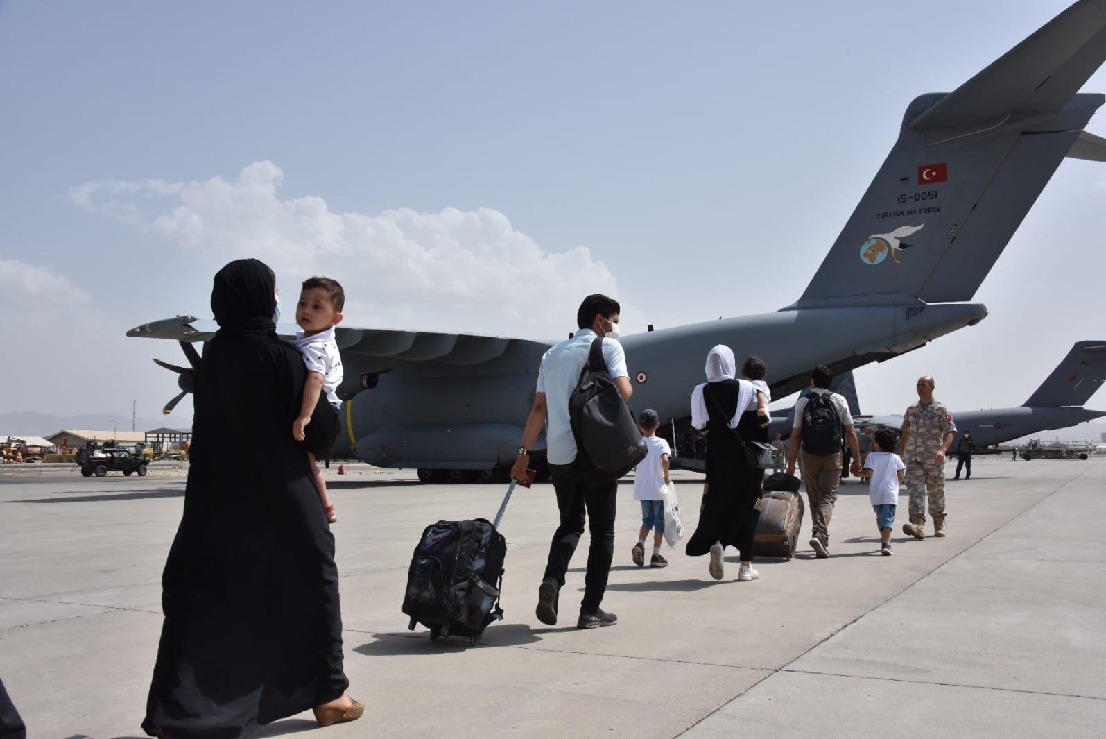 Turkey evacuates at least 200 citizens from Kabul Hamid Karzai International Airport, Kabul, Afghanistan, Aug. 18, 2021. (IHA Photo)