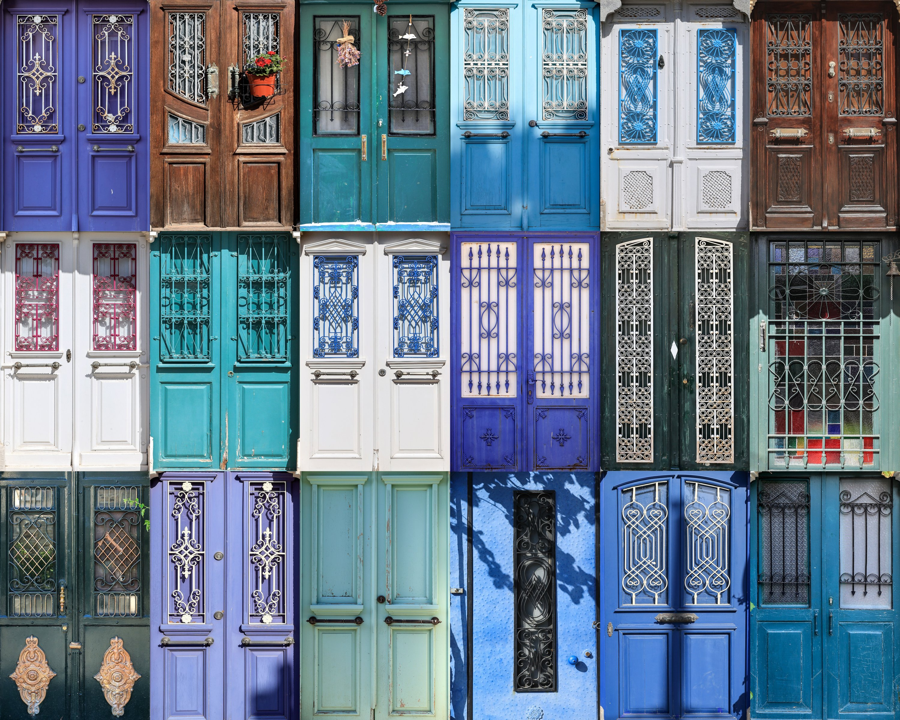 This photo combination shows the doors of the stone houses in Foça district, Izmir, western Turkey, Aug. 18, 2021. (AA Photo)