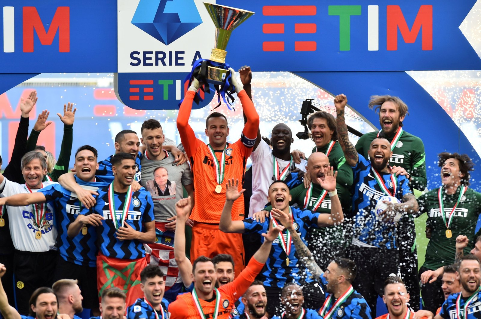 Inter Milan players celebrate after winning the Serie A title at the San Siro, Milan, Italy, May 23, 2021. (Reuters Photo)