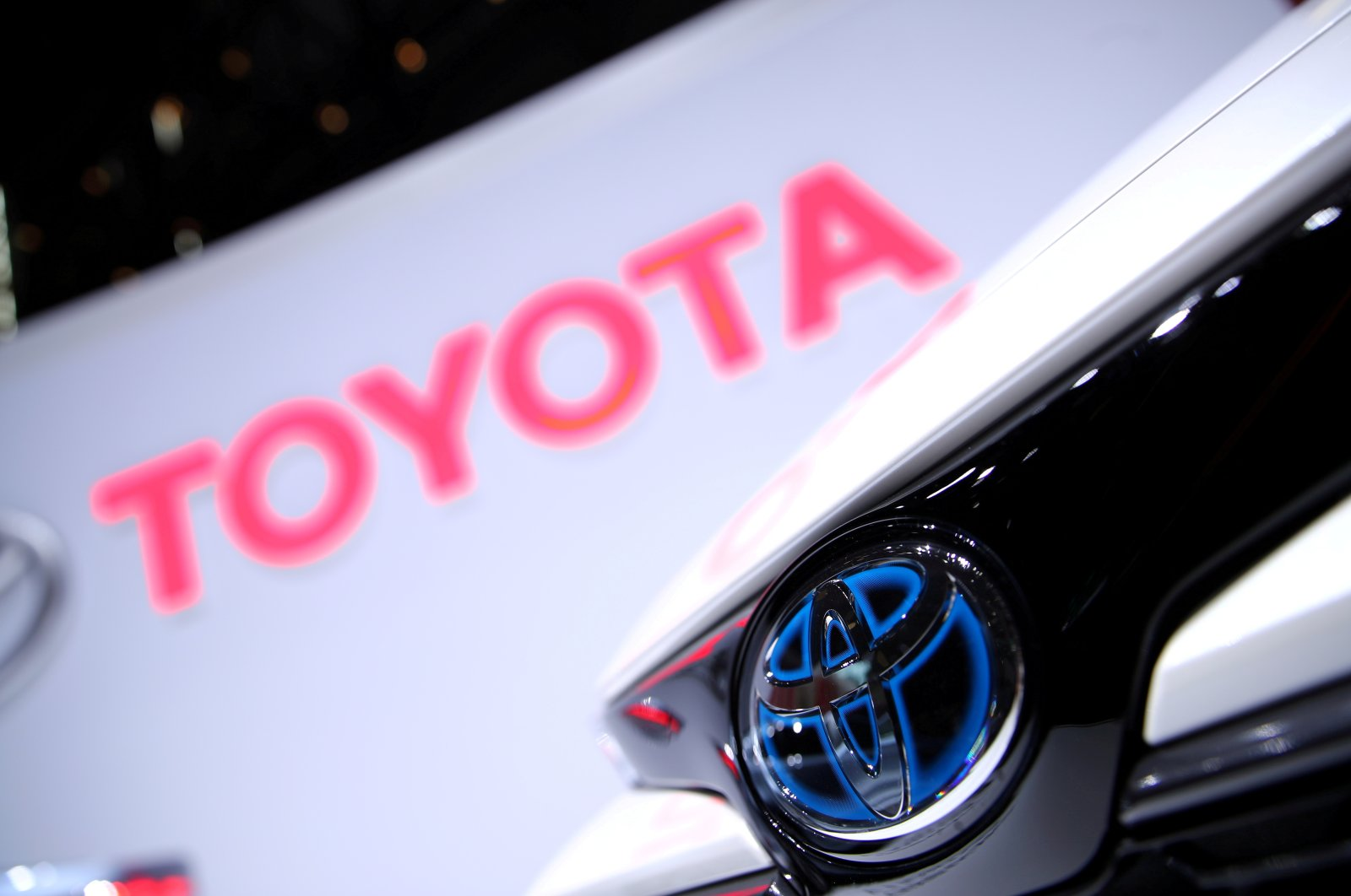 The Toyota logo is seen on a Corolla model at the 89th Geneva International Motor Show in Geneva, Switzerland, March 5, 2019. (Reuters Photo)
