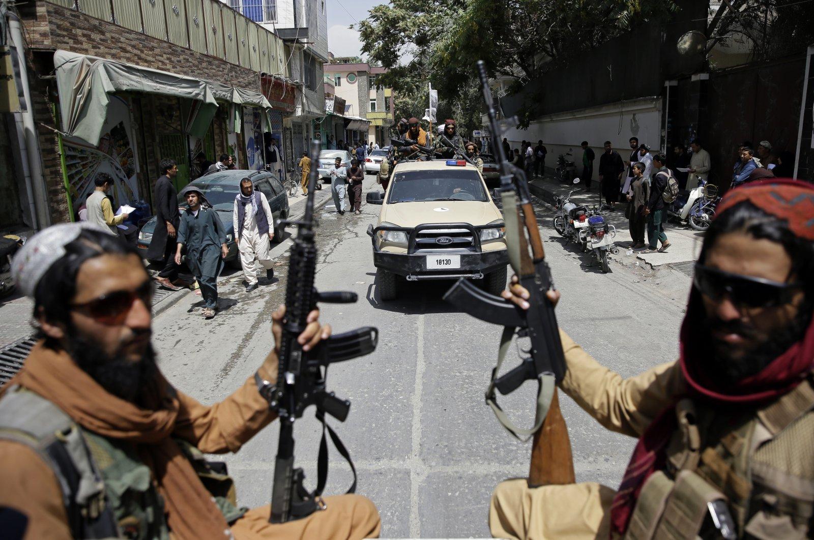 Taliban fighters patrol in Kabul, Afghanistan, Aug. 19, 2021. (AP Photo)