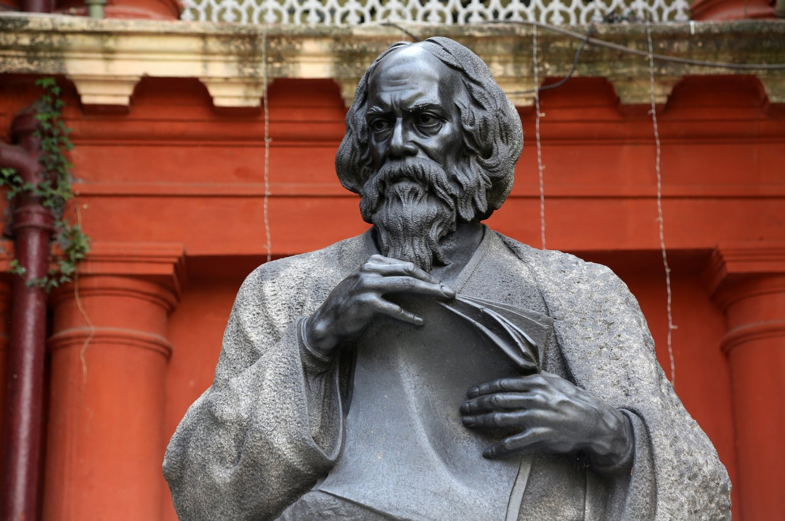 The monument of Rabindranath Tagore, who became the first non-European to win the Nobel Prize in literature in 1913, in Kolkata, India, Feb. 15, 2014.