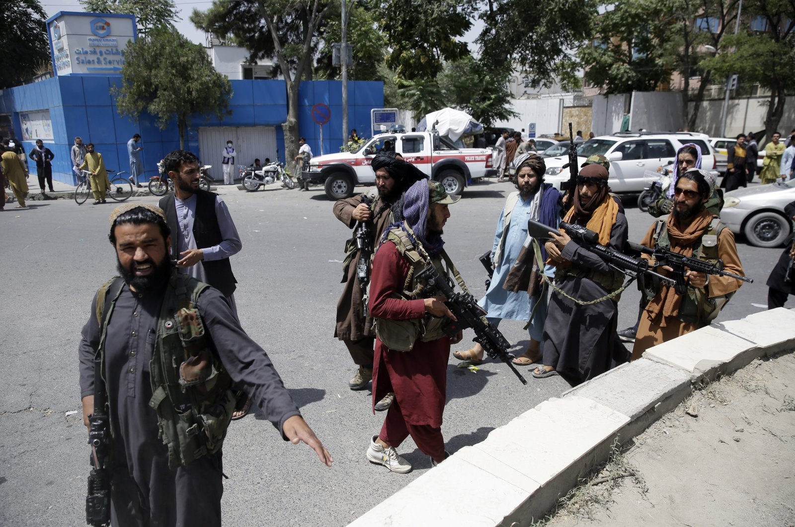 Taliban fighters patrol in Kabul, Afghanistan, Thursday, Aug. 19, 2021. (AP Photo)