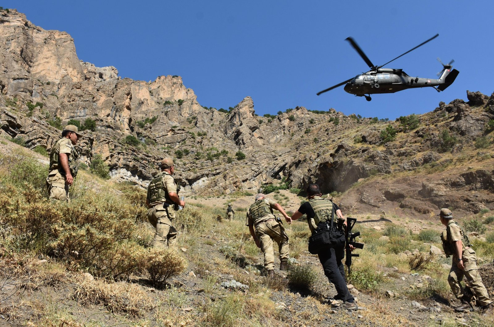 Turkish gendarmerie units take part in a counterterrorism operation against the PKK at an unidentified location in this undated file photo. (AA File Photo)