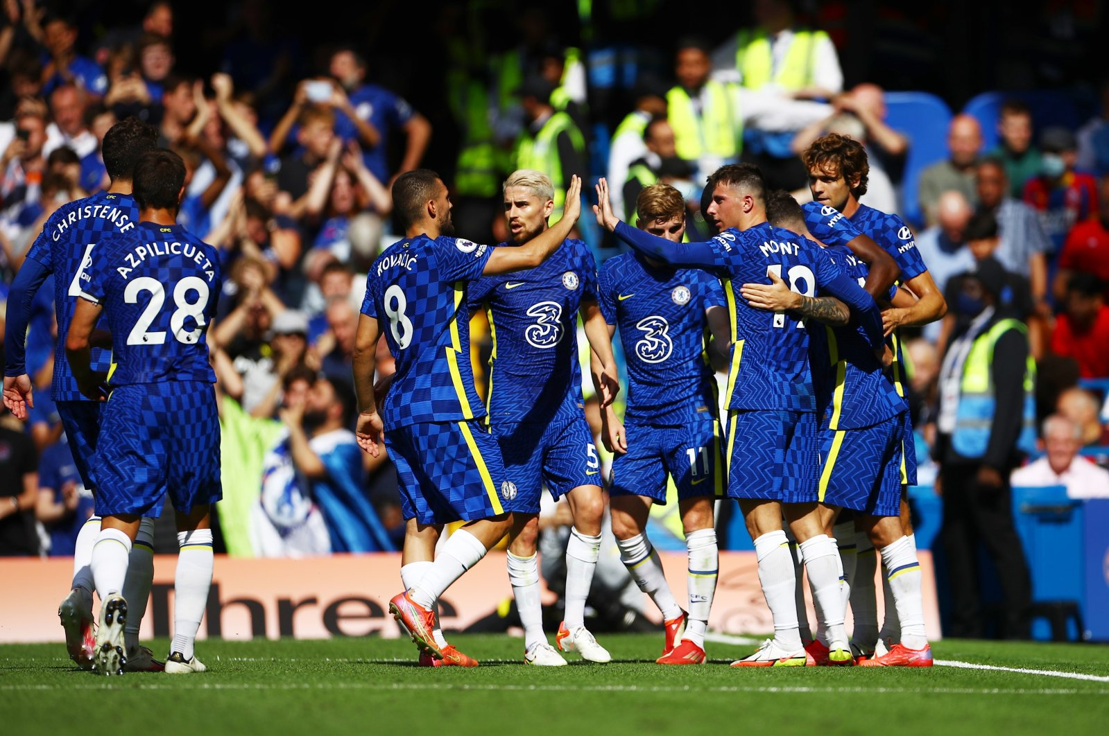 Chelsea's Christian Pulisic celebrates scoring their second goal in a Premier League match against Crystal Palace at Stamford Bridge, London, England, Aug. 14, 2021.