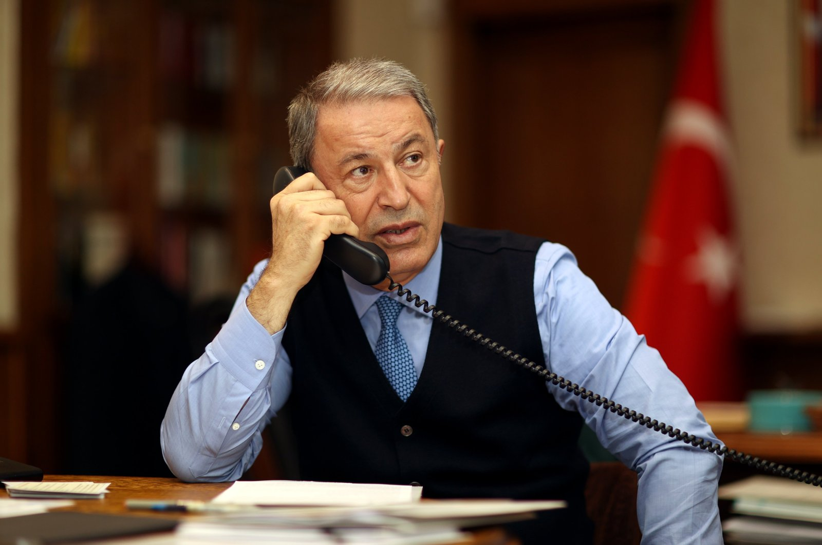 Defense Minister Hulusi Akar and his German counterpart Annegret Kramp-Karrenbauer discussed the latest situation in Afghanistan, Aug. 19, 2021 (DHA Photo)