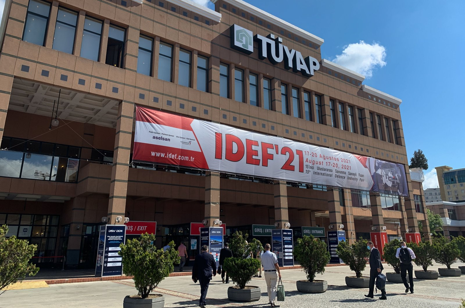 An outside view of Tüyap Exhibition and Convention Center, the venue of the 15th edition of International Defence Industry Fair (IDEF 2021), in Istanbul, Turkey, Aug. 18, 2021. (Reuters Photo)