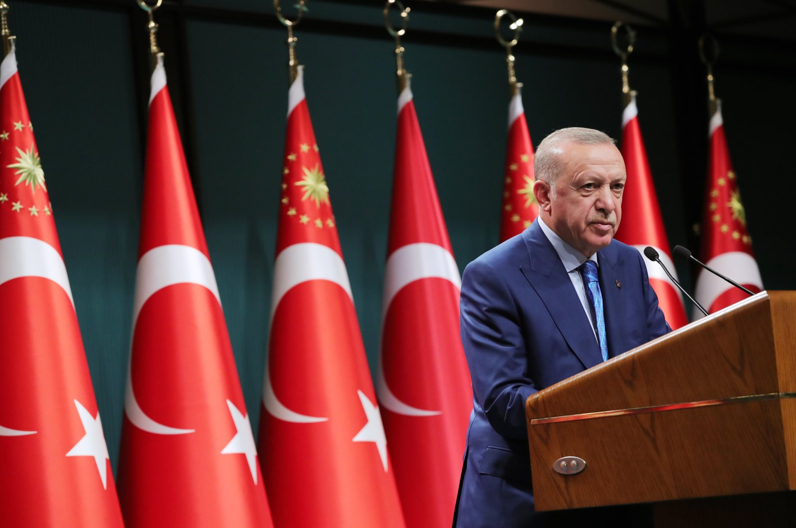 President Recep Tayyip Erdoğan speaks after a five-hour cabinet meeting at the Presidential Complex, Ankara, Turkey, on Aug. 19, 2021 (AA Photo)