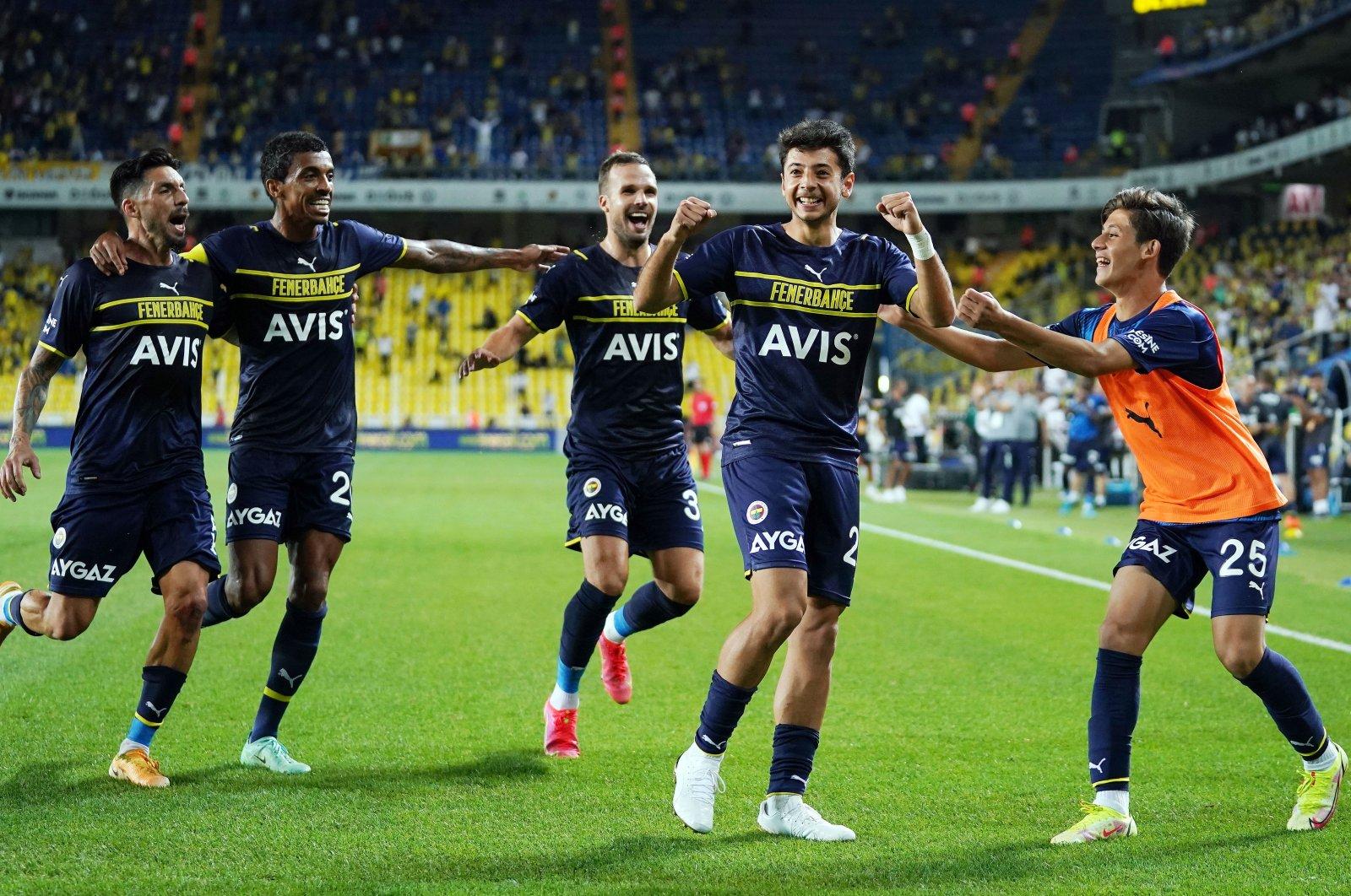 Fenerbahçe's Muhammed Gümüşkaya and his teammates celebrate after the young star's goal during the UEFA Europa League playoff first league match at Şükrü Saraçoğlu Stadium, Istanbul, Turkey, on Aug. 19, 2021. (IHA Photo)