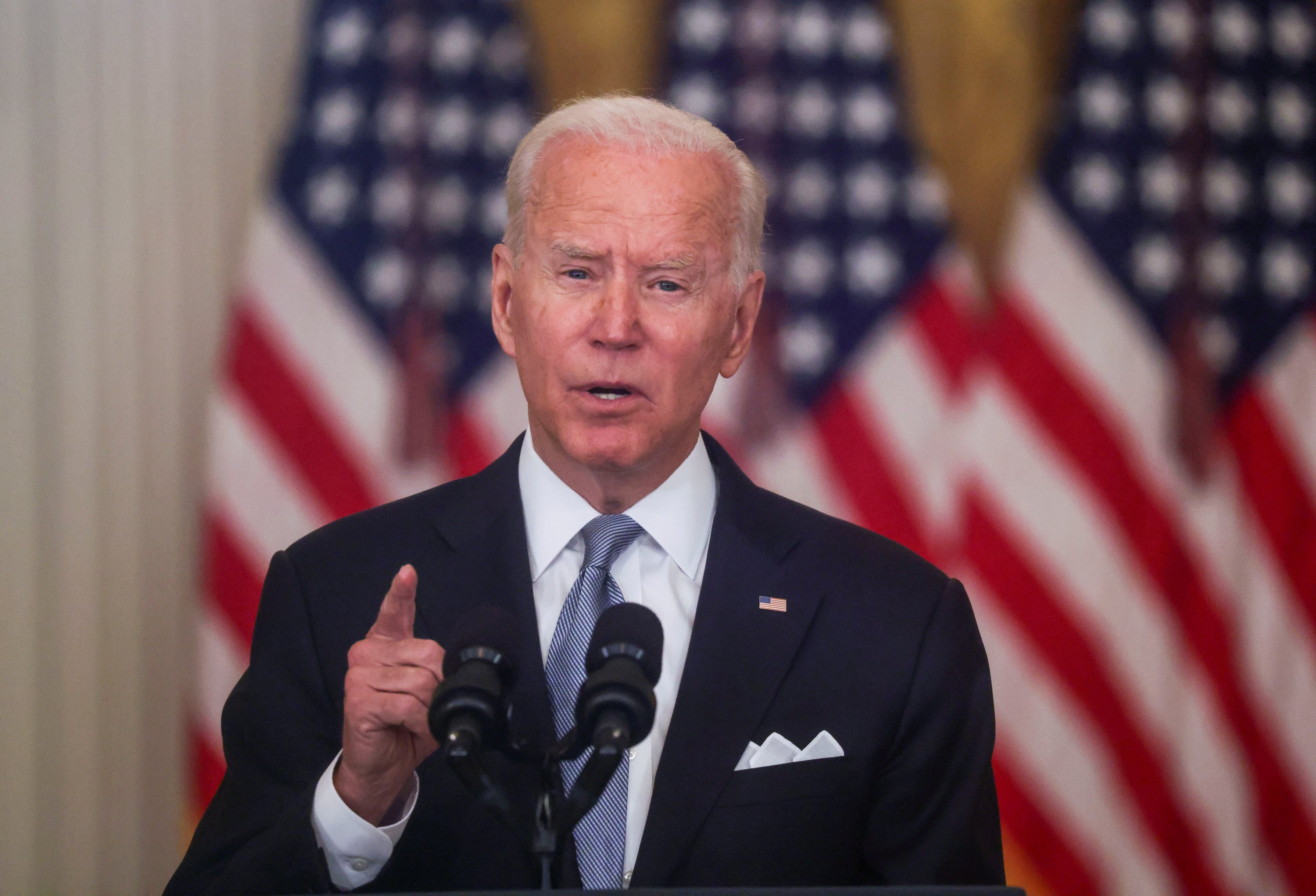 U.S. President Joe Biden delivers remarks on the crisis in Afghanistan during a speech in the East Room at the White House in Washington, U.S., Aug. 16, 2021. (Reuters Photo)