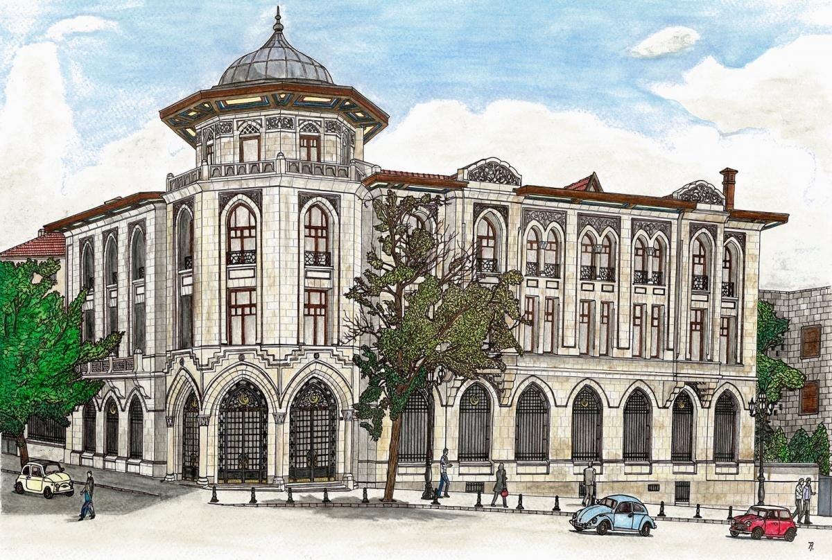A drawing that depicts Yunus Emre Institute's Ankara headquarters (Photo courtesy of Yunus Emre Institute)
