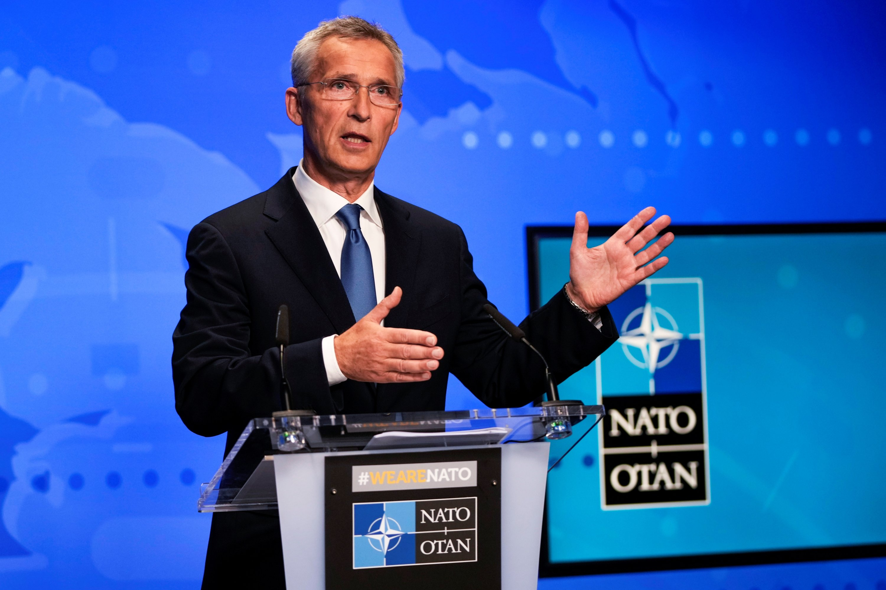 NATO Secretary-General Jens Stoltenberg gestures during an online news conference after a NATO Foreign Ministers video meeting following developments in Afghanistan, at NATO headquarters in Brussels, Belgium, Aug. 20, 2021. (Reuters Photo)