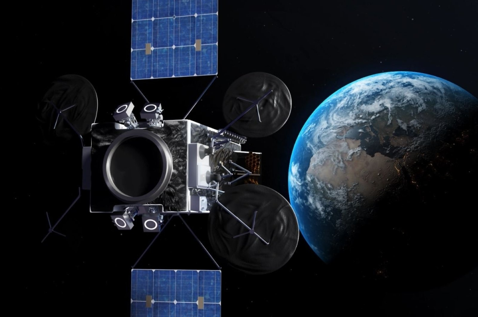 A screenshot taken from a video by Turkish Aerospace Industries (TAI) on the communication satellite technologies developed by the company, Feb. 12, 2021. (DHA Photo)