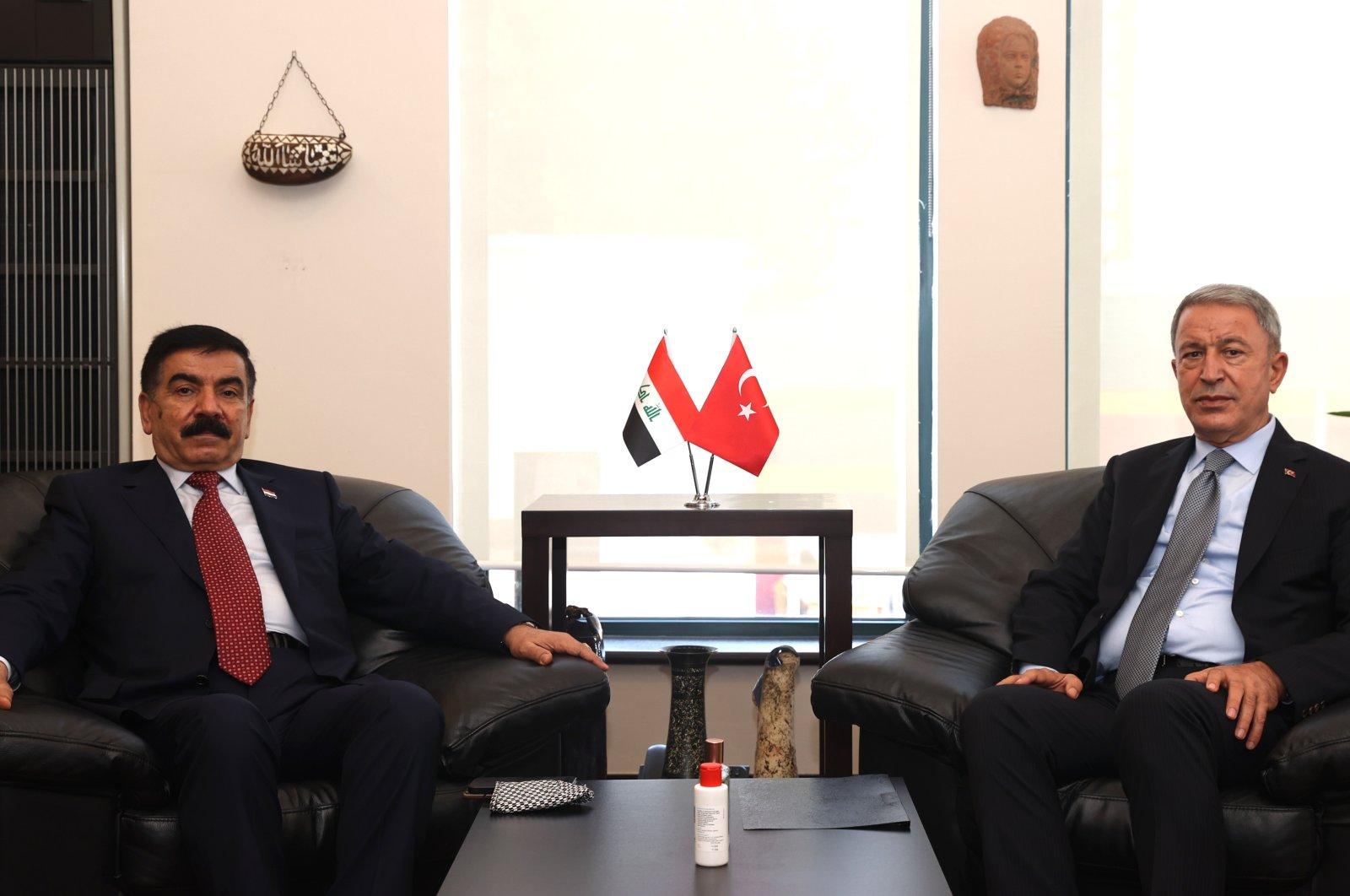 Defense Minister Hulusi Akar met with his Iraqi counterpart Jumaah Saadoon at the sidelines of the International Defense Industry Fair (IDEF 2021) in Istanbul, Turkey, Aug. 19, 2021 (AA Photo)