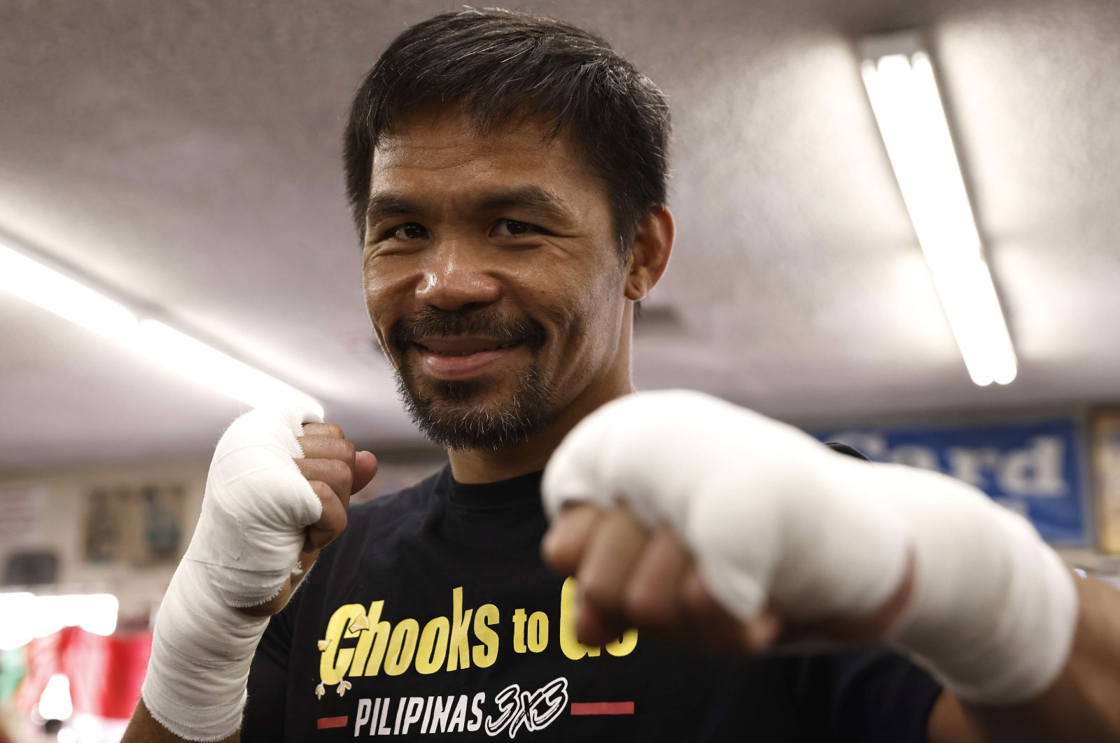 Manny Pacquiao poses for media at Wild Card Boxing Club in Los Angeles, California, U.S., Aug. 04, 2021. (AFP Photo)