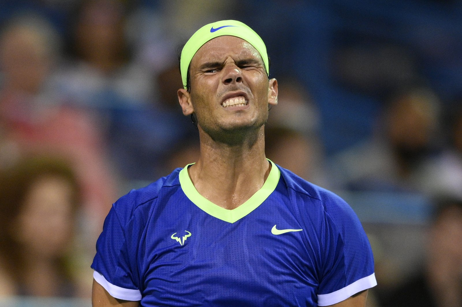 Spain's Rafael Nadal reacts during a match against South Africa's Lloyd Harrisat the Citi Open, in Washington, D.C., U.S.,Aug. 5, 2021
