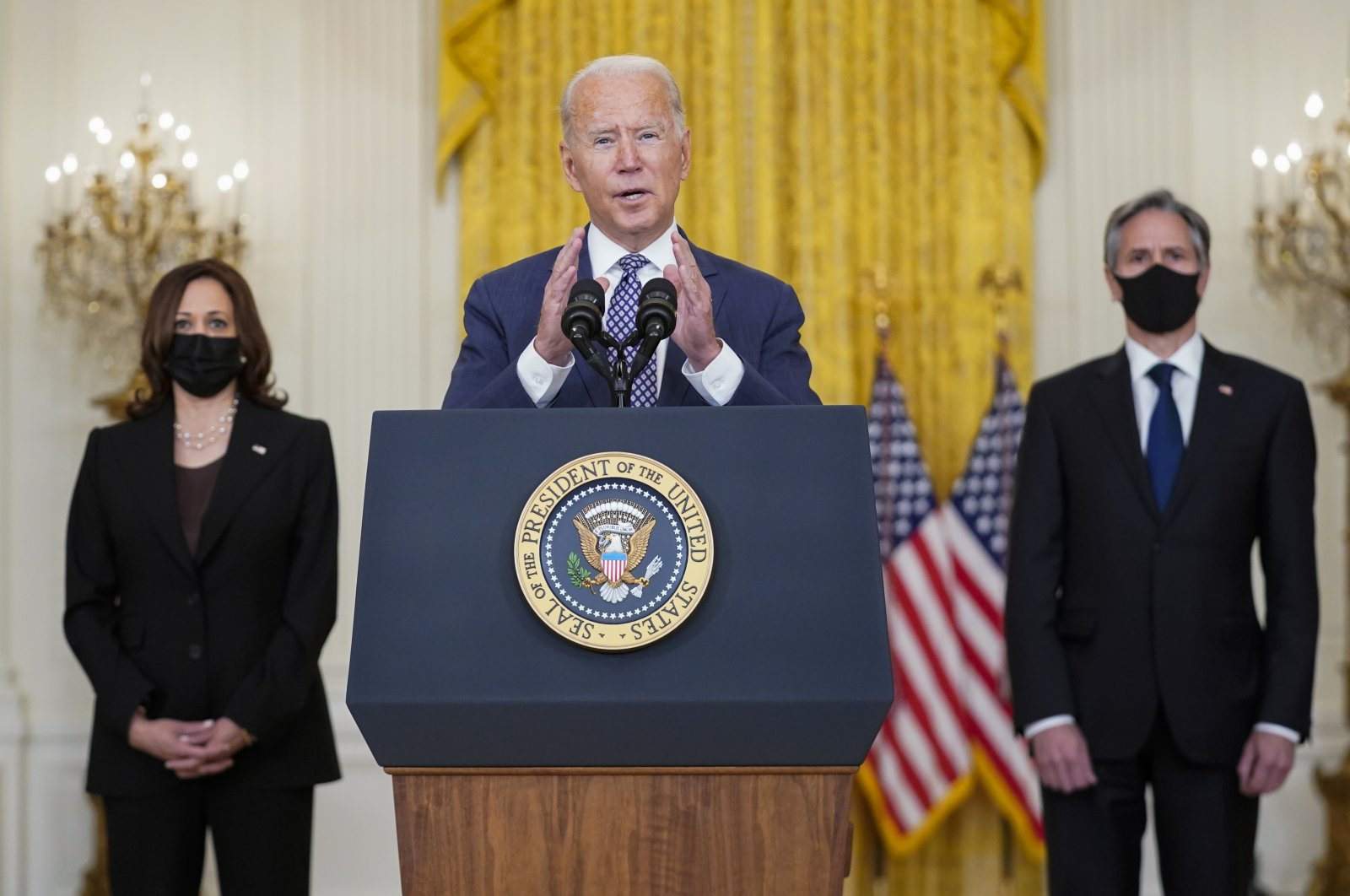 President Joe Biden speaks about the latest developments in Afghanistan in the East Room of the White House, Washington D.C., U.S., Aug. 20, 2021. (AP Photo)