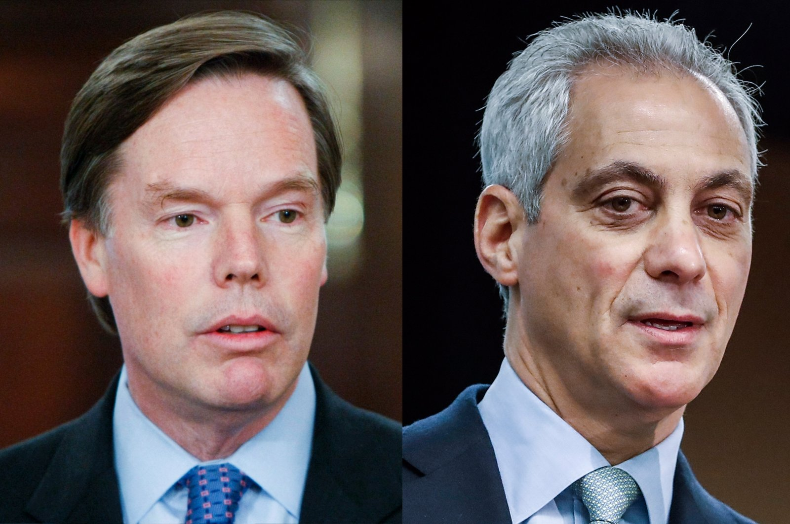 Nicholas Burns (L) announces his retirement at the State Department in Washington, U.S., Jan. 18, 2008. Rahm Emanuel (R), then mayor of Chicago, speaks at a news conference following the signing of the Chicago Climate Charter at the North American Climate Summit at the Sheraton Hotel in Chicago, Illinois, U.S., Dec. 5, 2017. (Photos by AP and EPA)