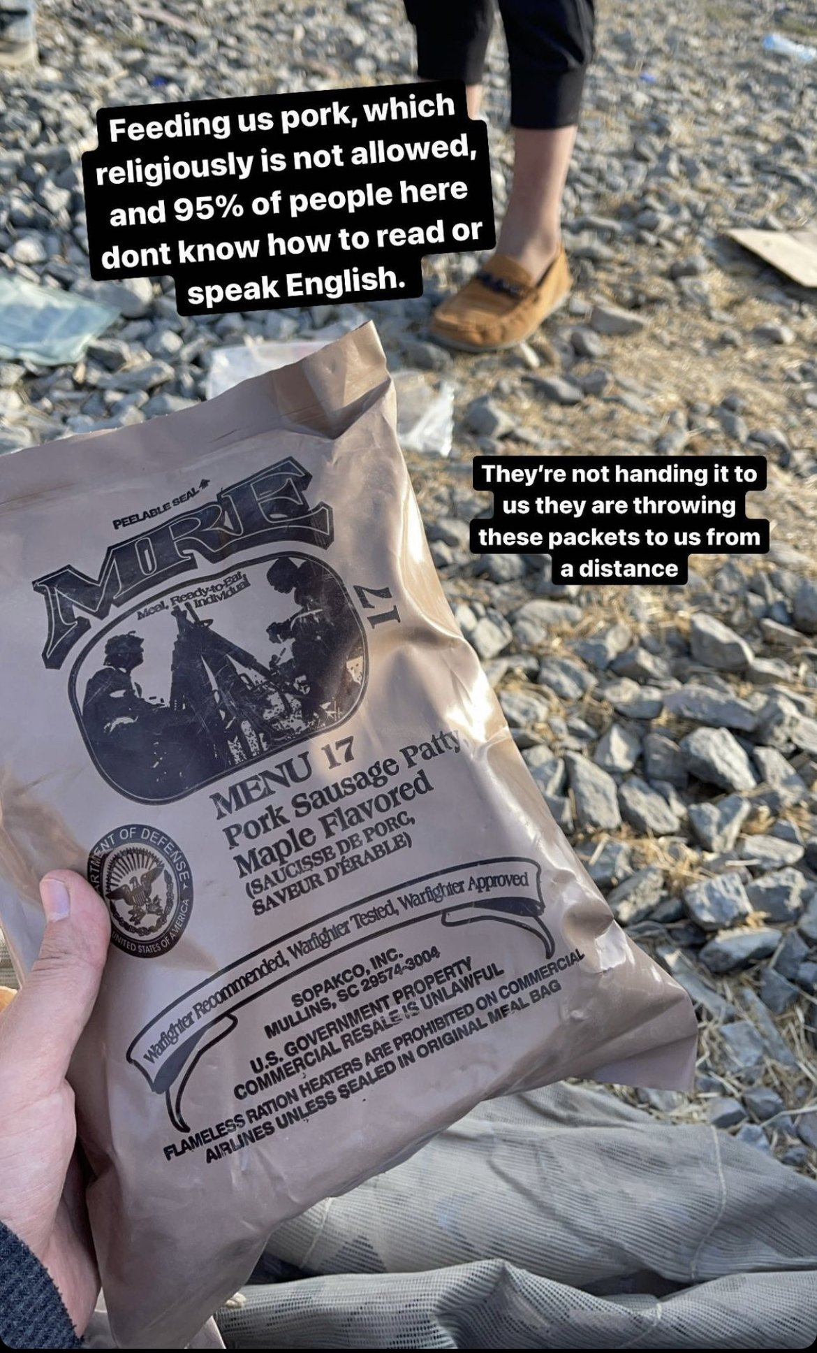 This Aug. 21, 2021 screenshot of an Instagram story shows a pork sausage package distributed by U.S. soldiers at the airport in Kabul, Afghanistan. (Photo: Instagram/@zf326)