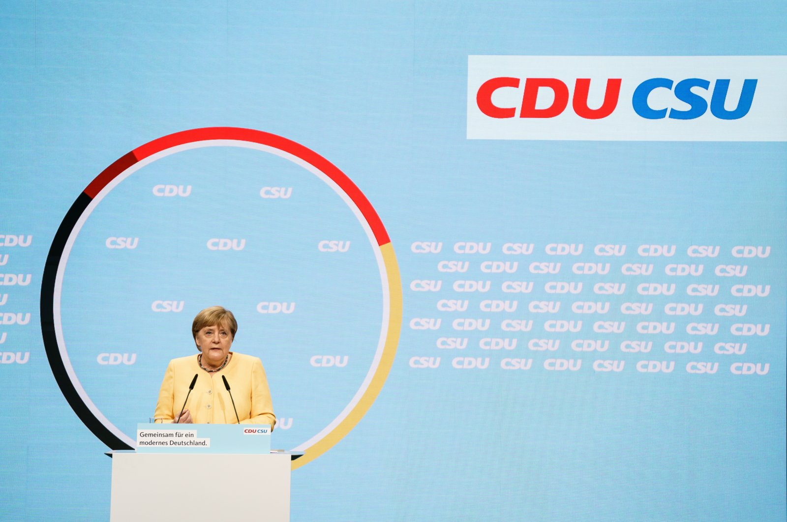 German Chancellor Angela Merkel delivers a speech during an election rally of the Christian Democratic Union (CDU) and Christian Social Union (CSU) at the Tempodrom, Berlin, Germany, Aug. 21, 2021. (EPA Photo)