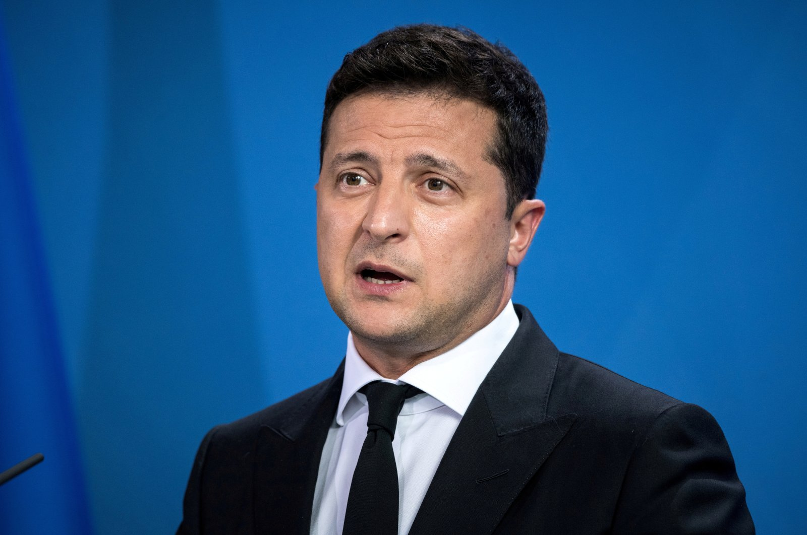 Ukrainian President Volodymyr Zelenskyy gives statements ahead of talks at the Chancellery in Berlin, Germany, July 12, 2021. (Reuters Photo)