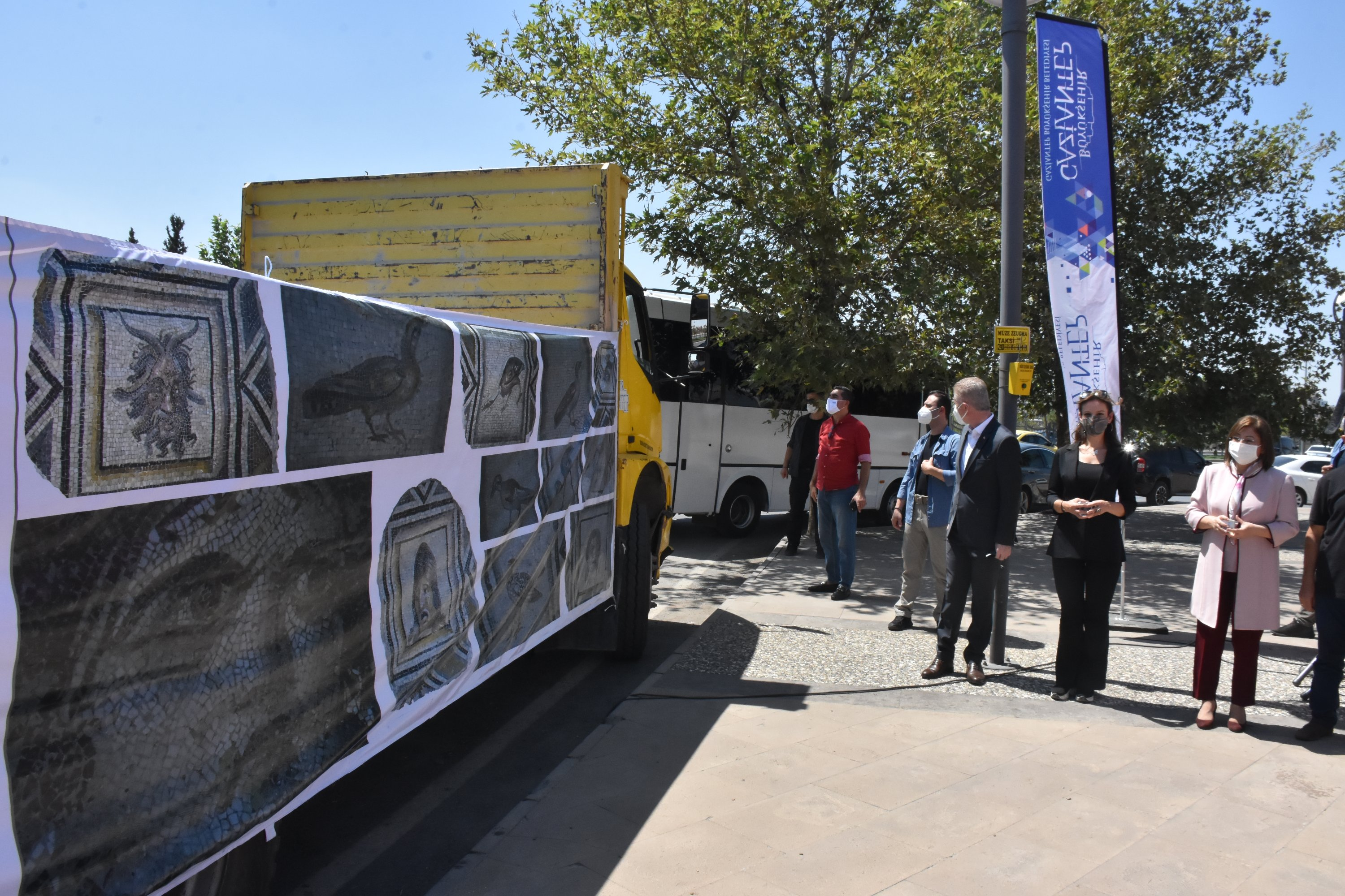 Replicas of the famous 'Gypsy Girl' mosaic are loaded onto a truck to be sent to the U.S., Gaziantep, southern Turkey, Aug. 21, 2021. (AA Photo)