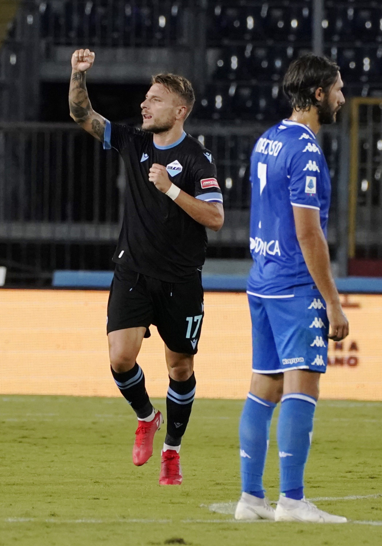Lazio's Ciro Immobile celebrates after scoring in a Serie A match against Empoli at the Carlo Castellani stadium, Empoli, Italy, Aug. 21, 2021. (AP Photo)